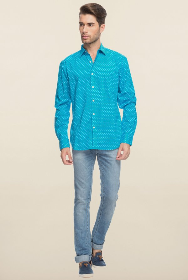 Cottonworld Aqua Polka Dot Printed Casual Shirt