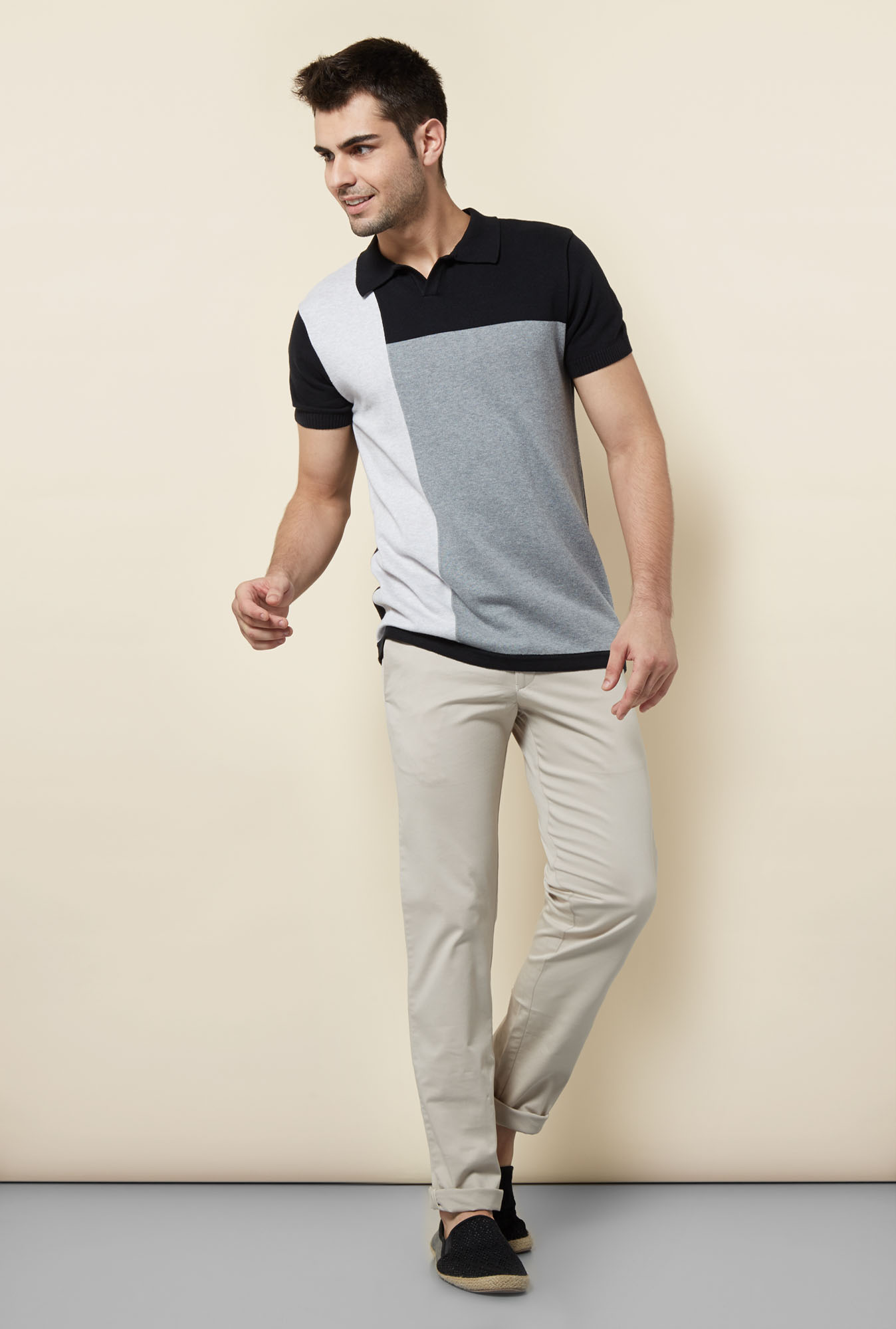 Cottonworld Multicolored Solid Polo T Shirt