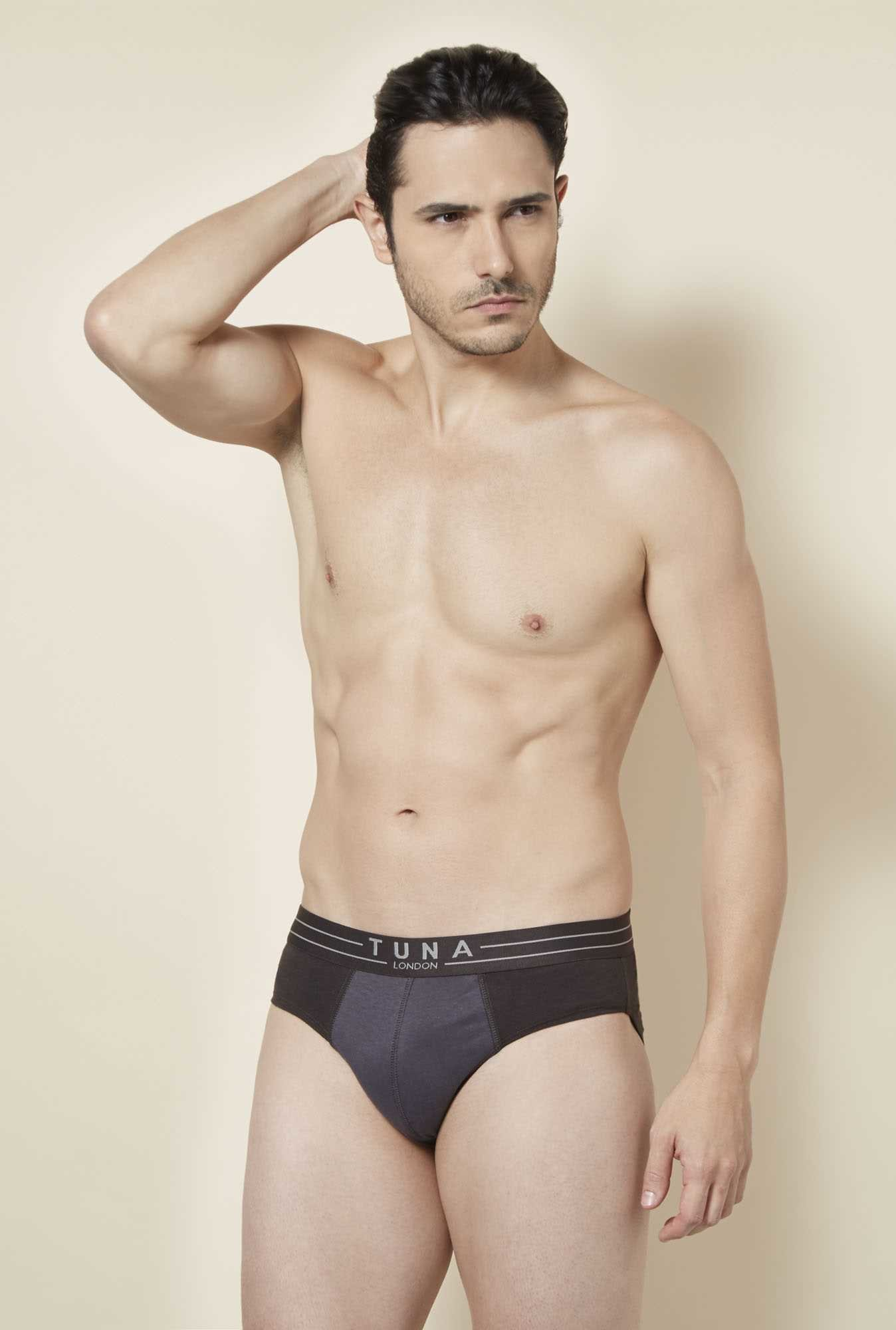 Tuna London Dark Brown & Grey Solid Brief