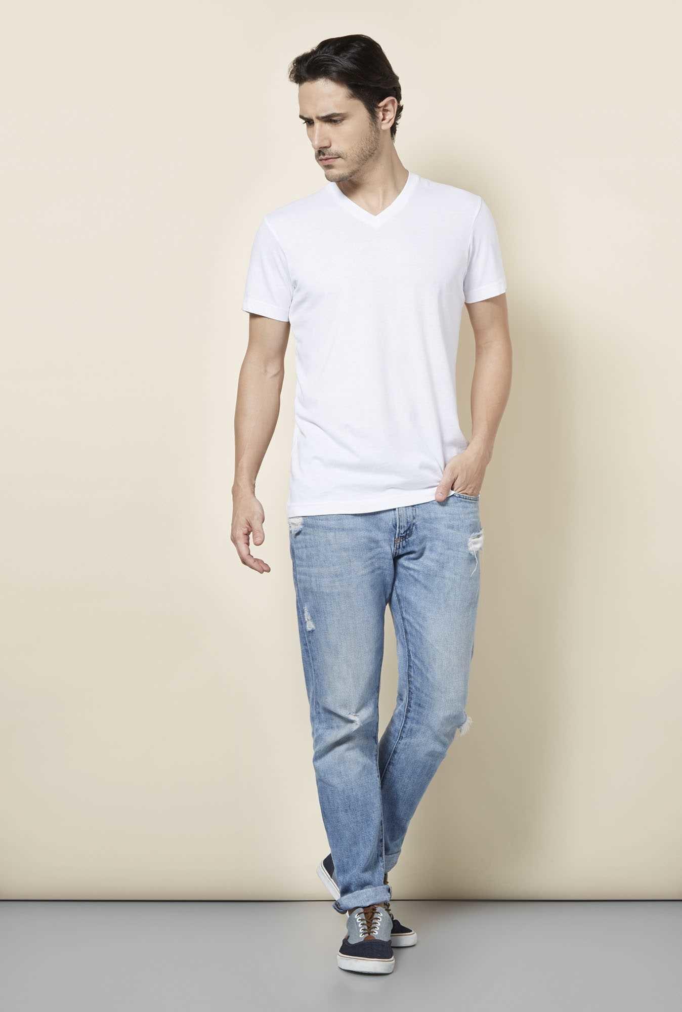 Buy tuna london white v neck t shirt online at best price for Best white v neck t shirt