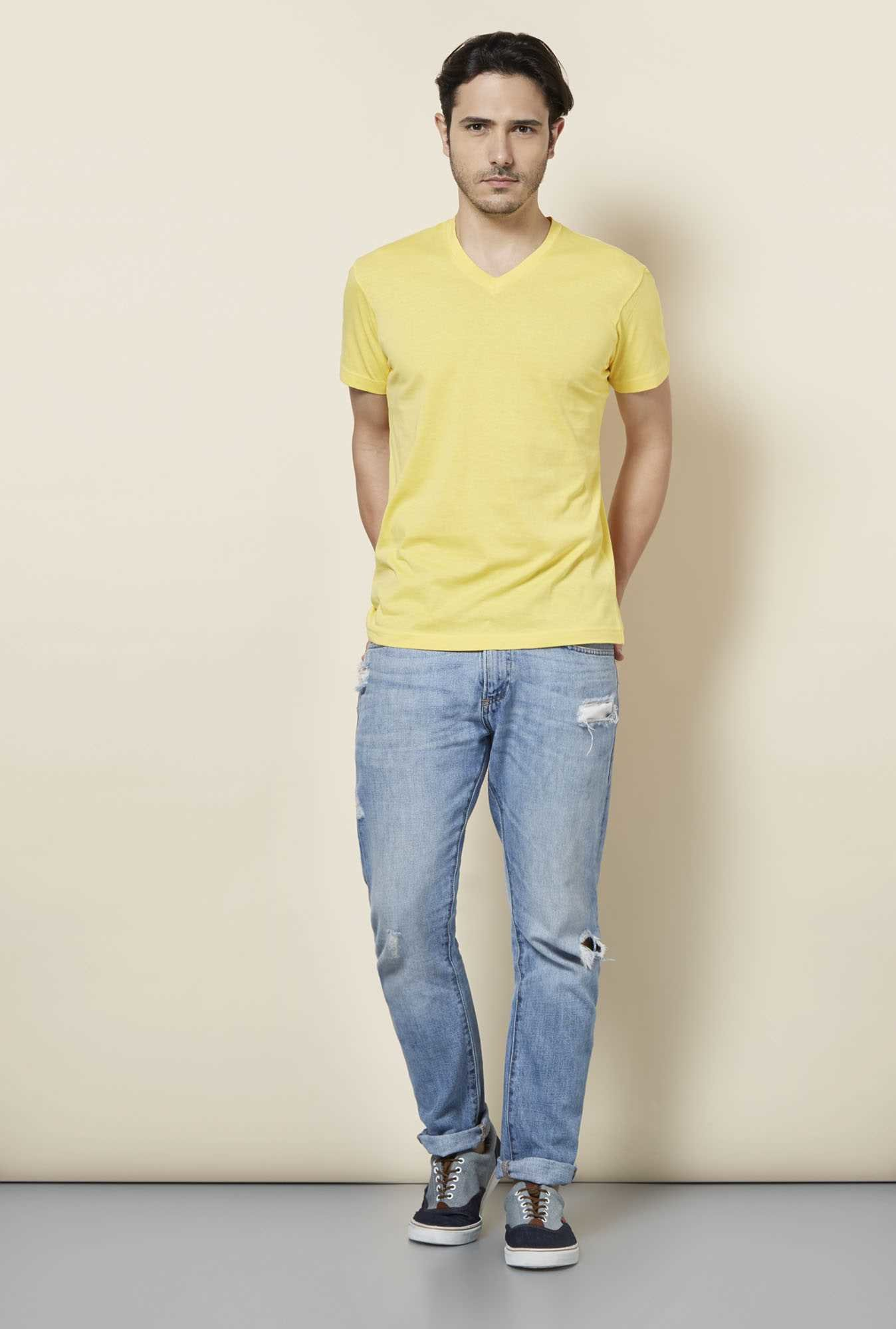 Buy Tuna London Yellow V Neck T Shirt Online At Best Price
