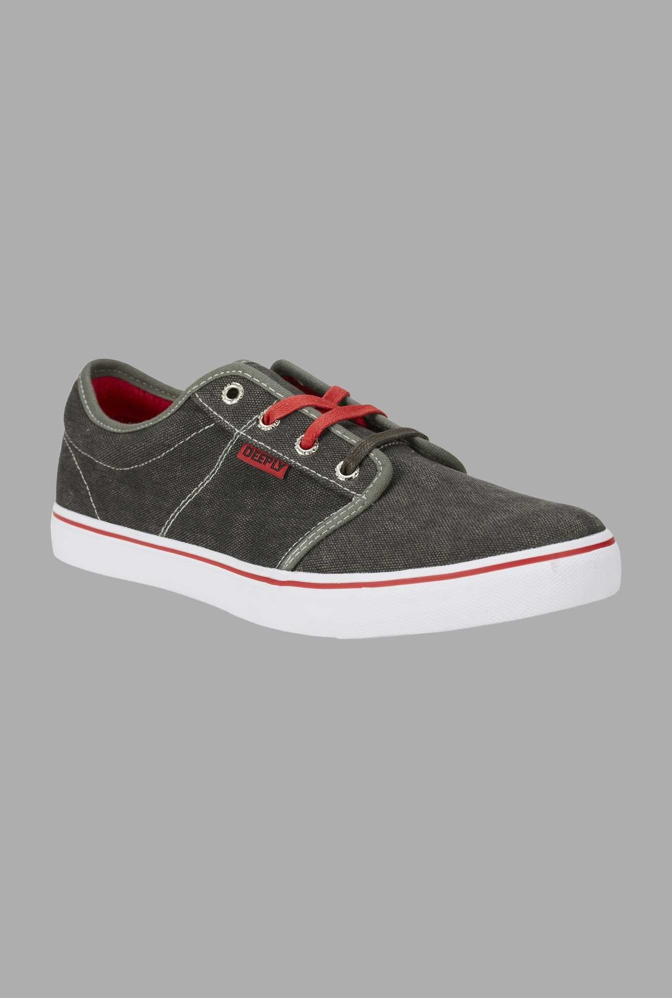 Deeply Grey Canvas Lace Up Sneakers