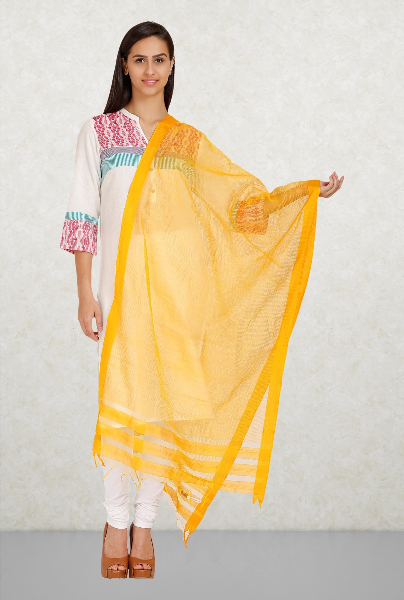 Aurelia Yellow Solid Dupatta