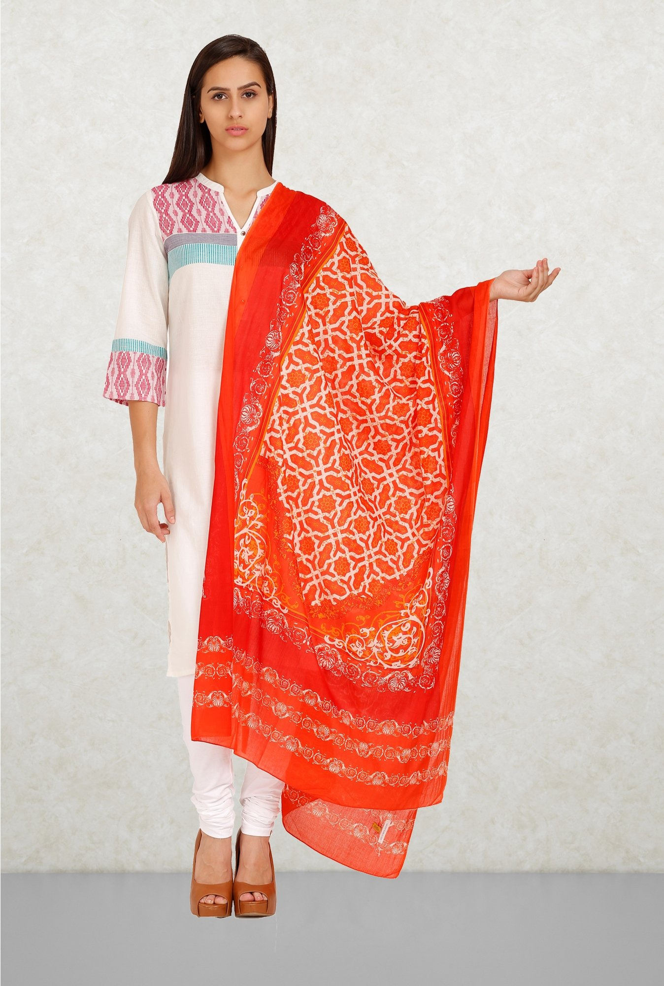 Aurelia Orange Printed Dupatta