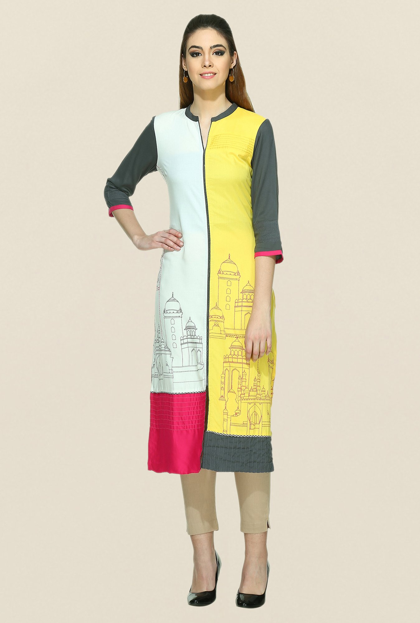 W White & Yellow Printed Kurta