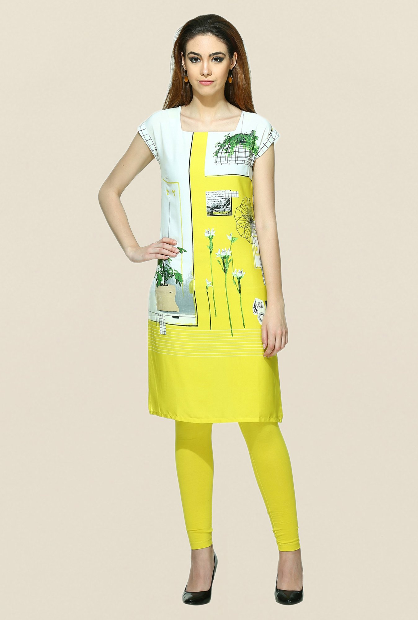 W White & Yellow Printed Square Neck Kurta