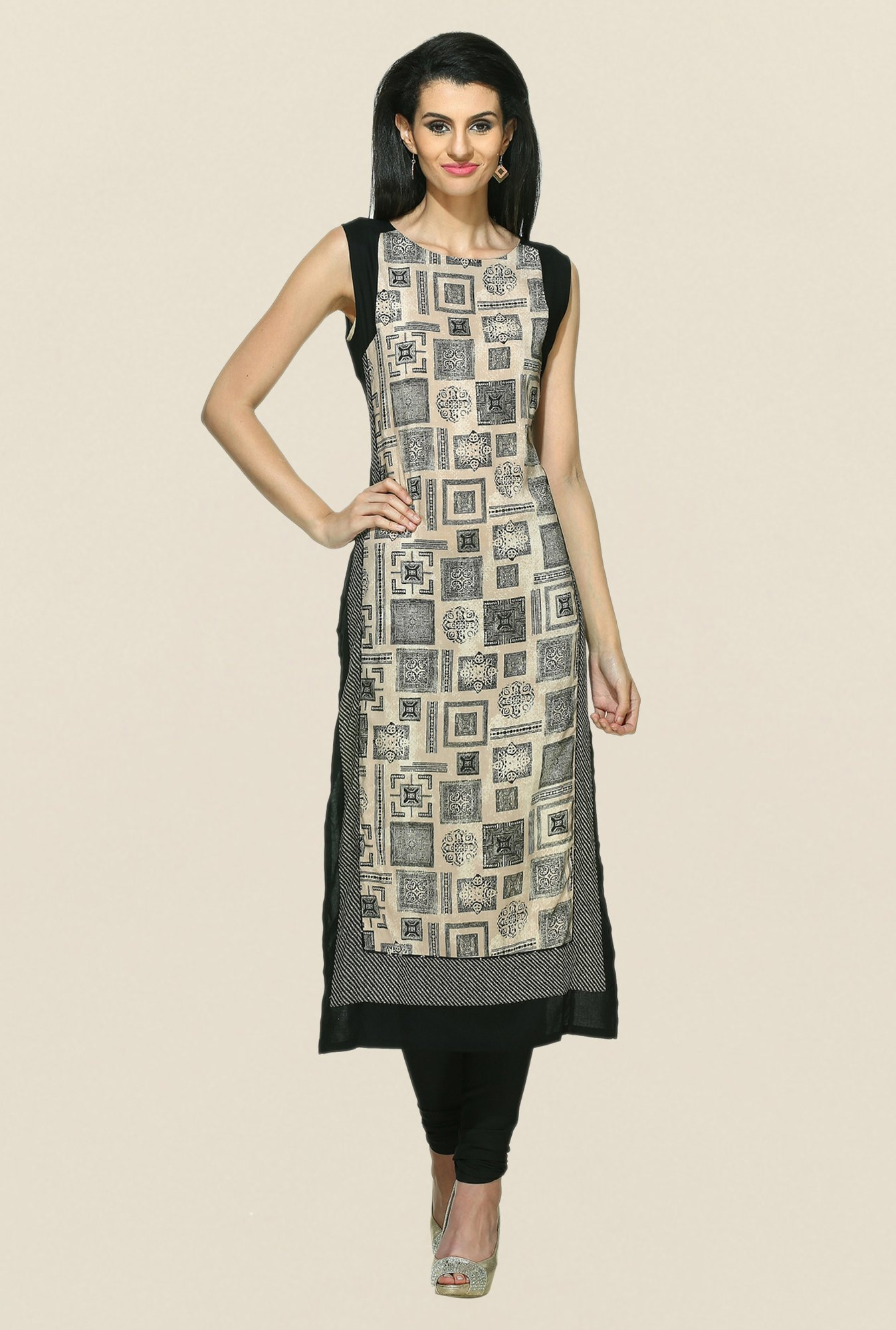 W Beige Printed Sleeveless Kurta
