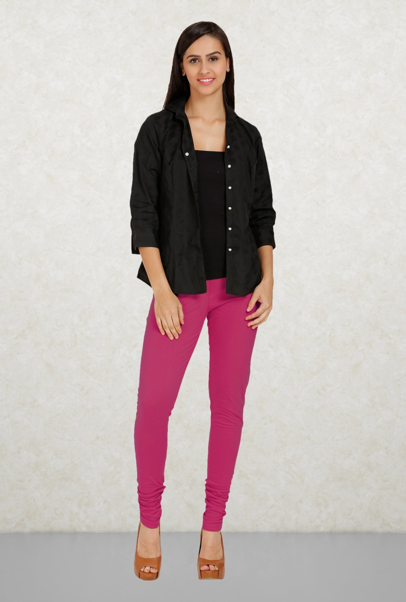 Aurelia Magenta Solid Leggings