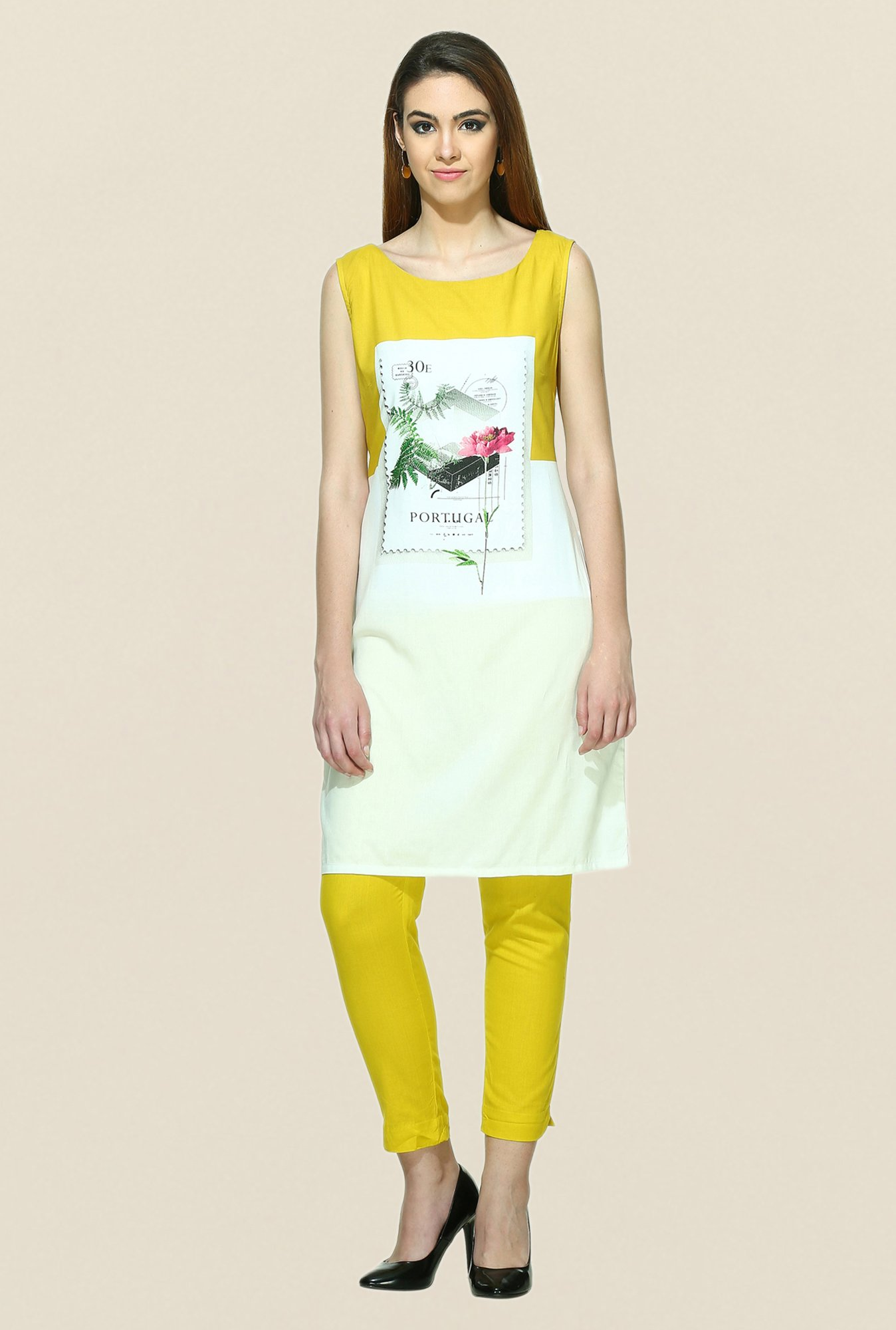 W White & Yellow Printed Sleeveless Kurta