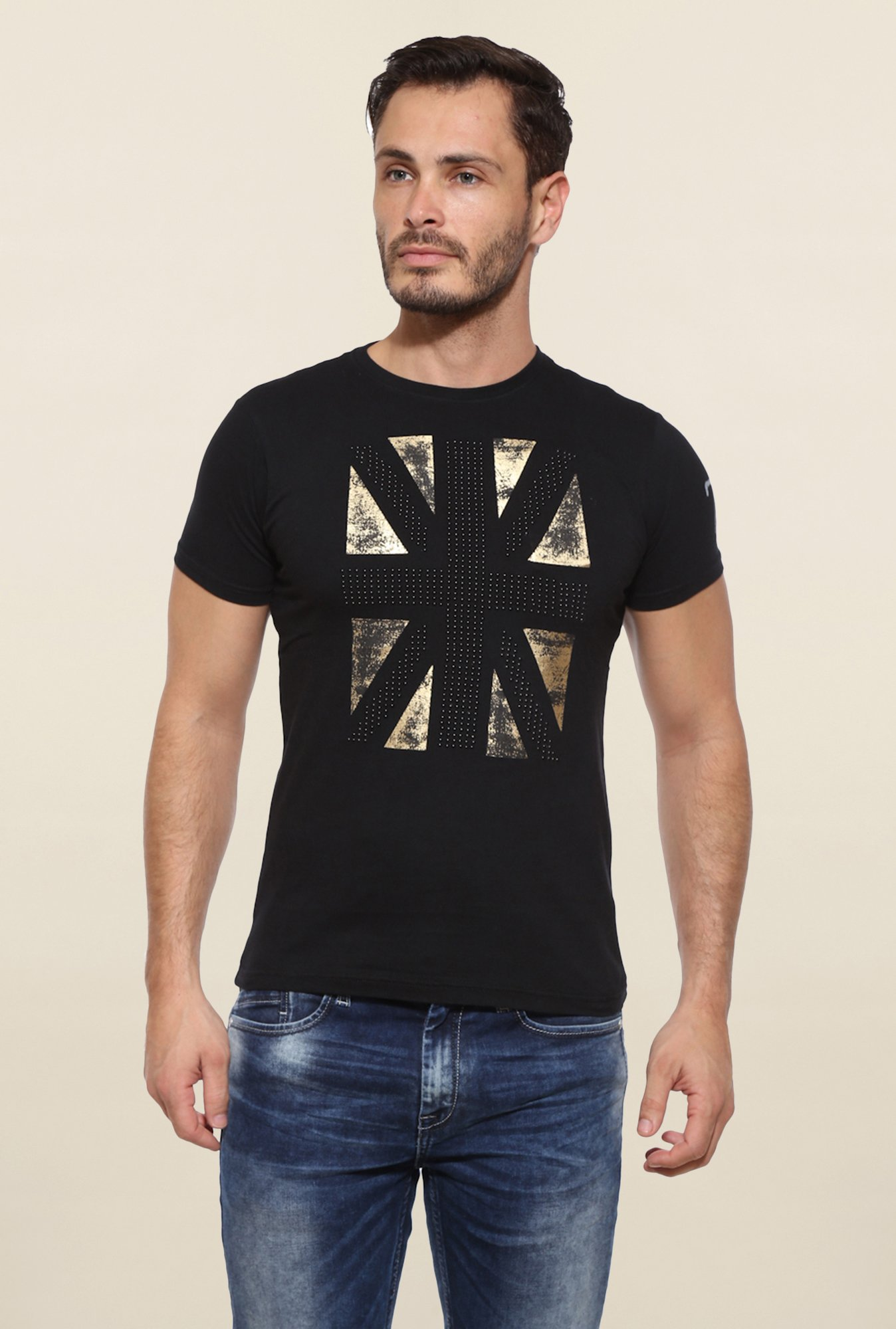 Pepe Jeans Black Printed T Shirt