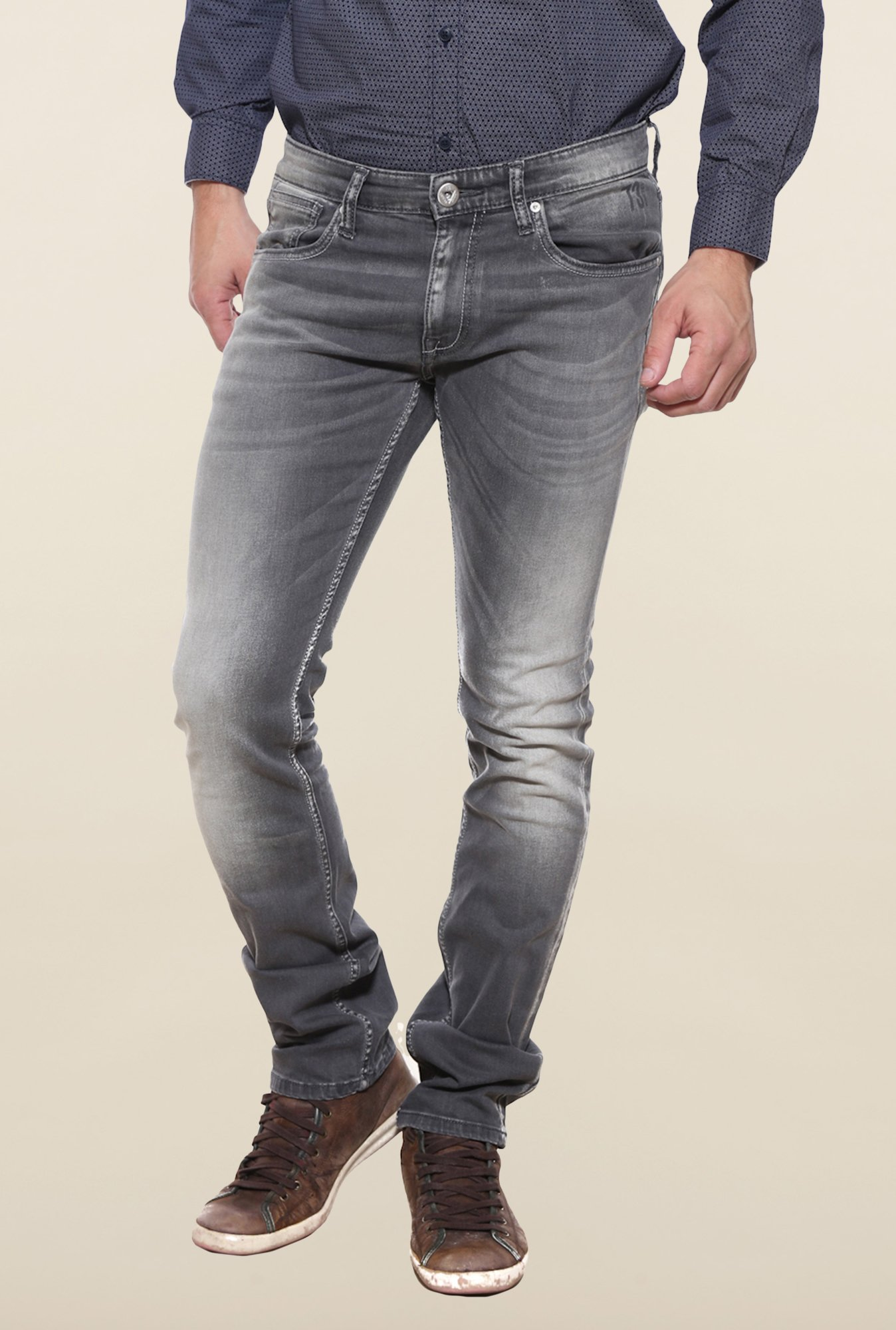 Pepe Jeans Grey Lightly Washed Solid Jeans
