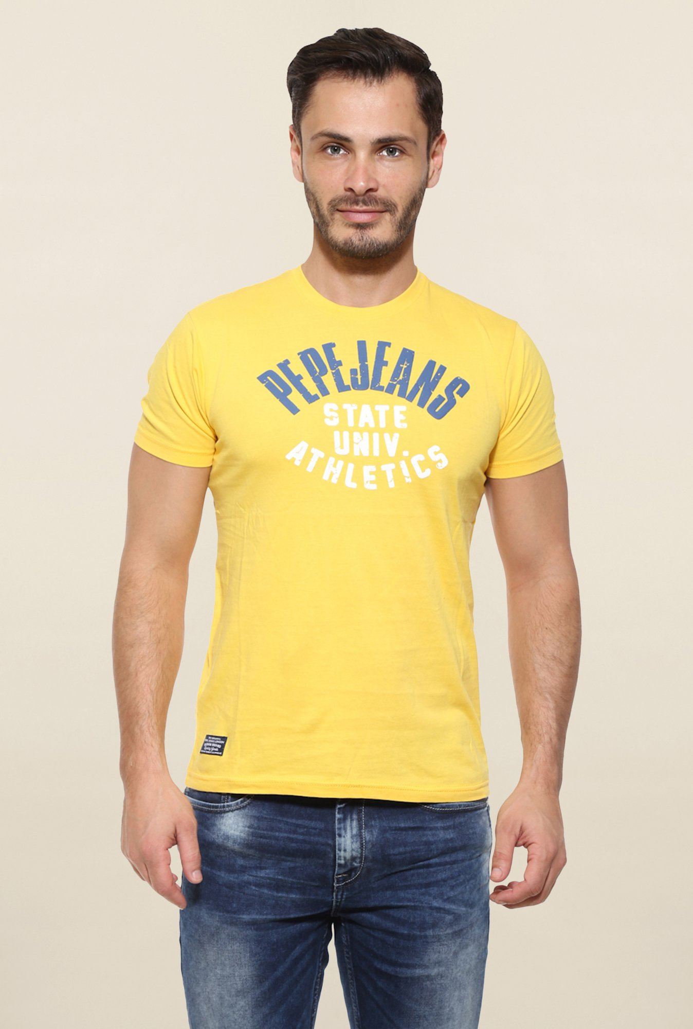 Pepe Jeans Yellow Printed T Shirt