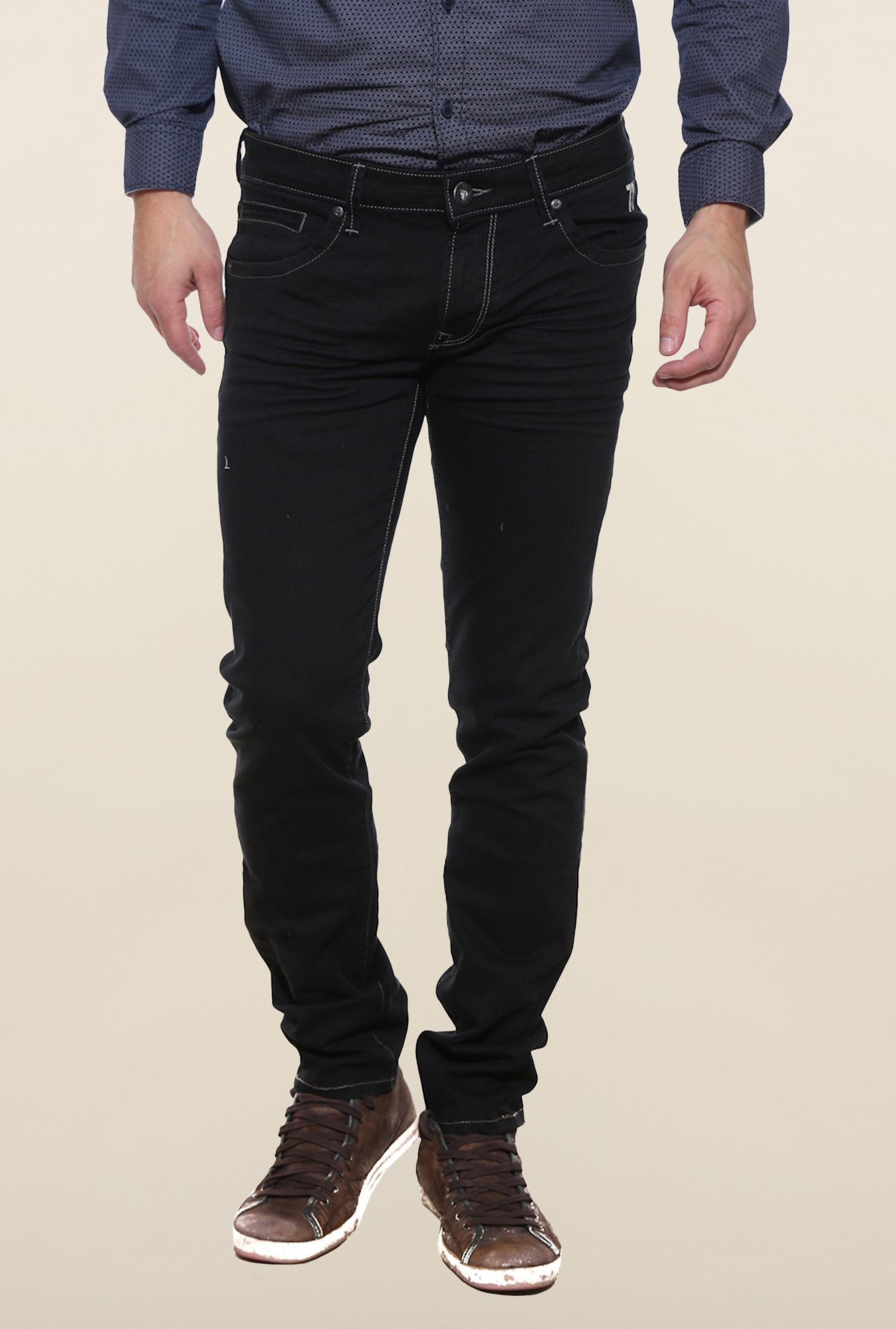 Pepe Jeans Black Raw Denim Solid Jeans