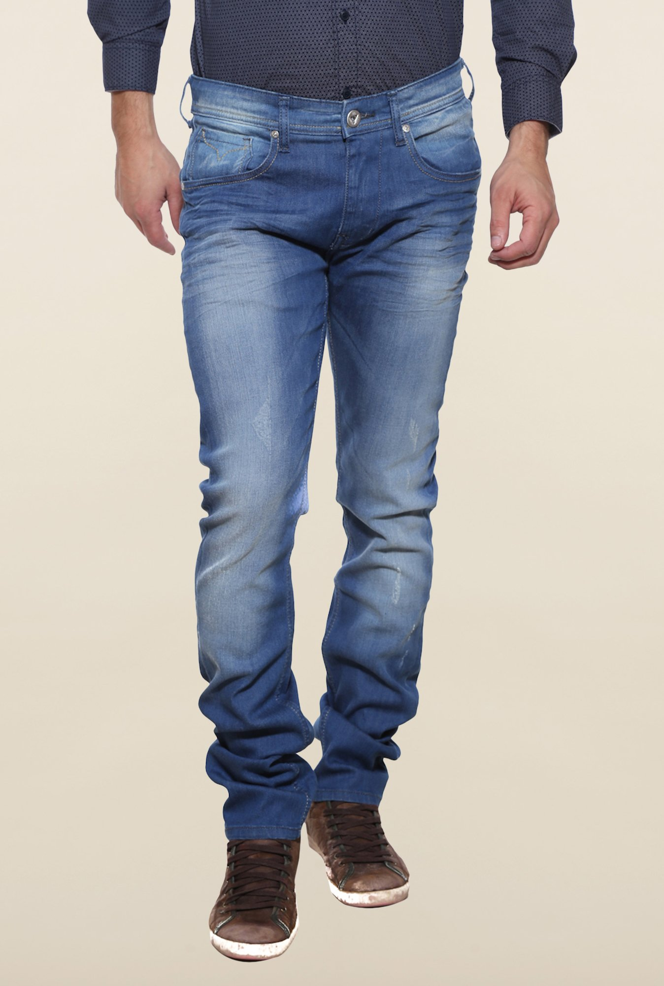 Pepe Jeans Blue Lightly Washed Distressed Jeans