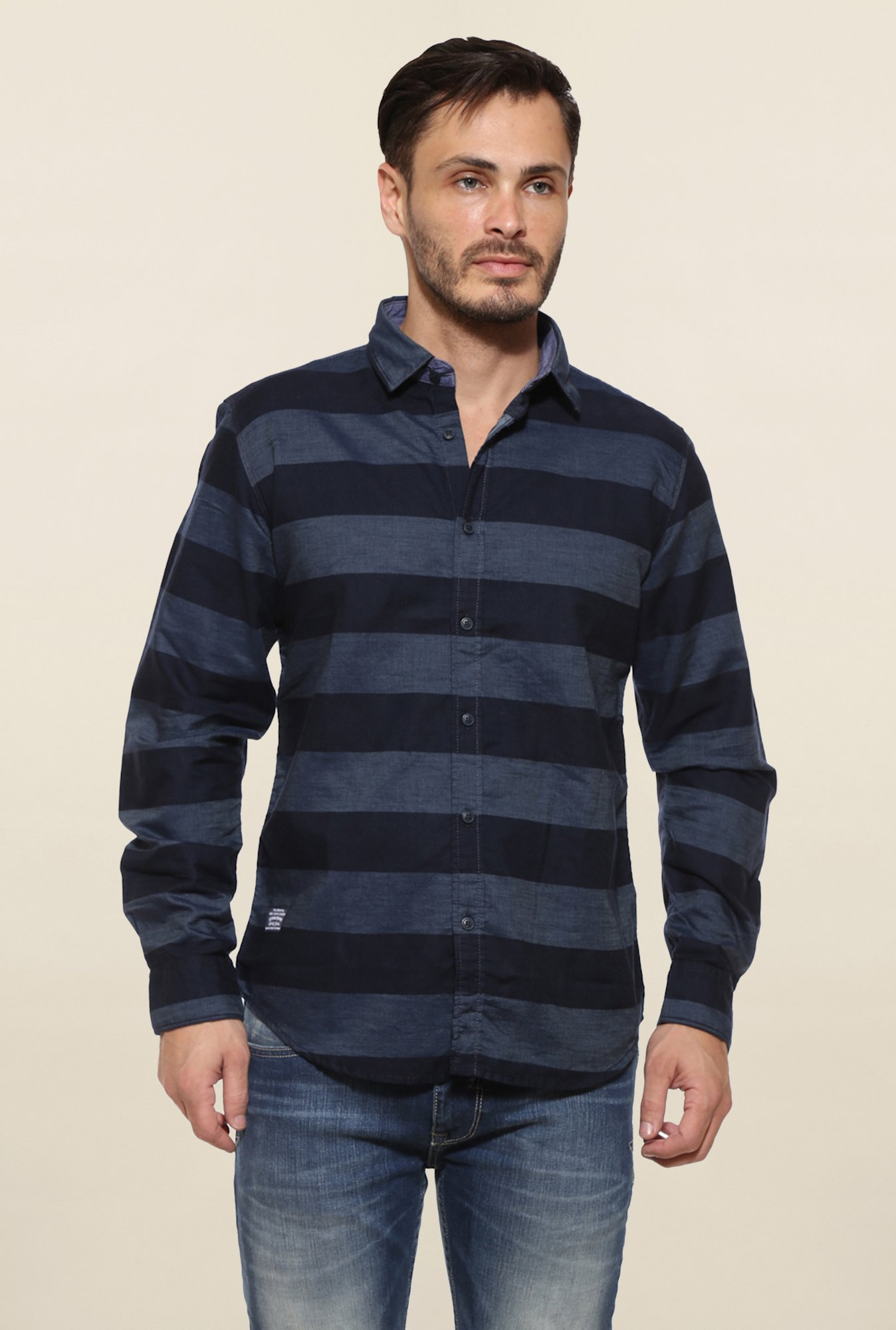 Pepe Jeans Navy Striped Casual Shirt