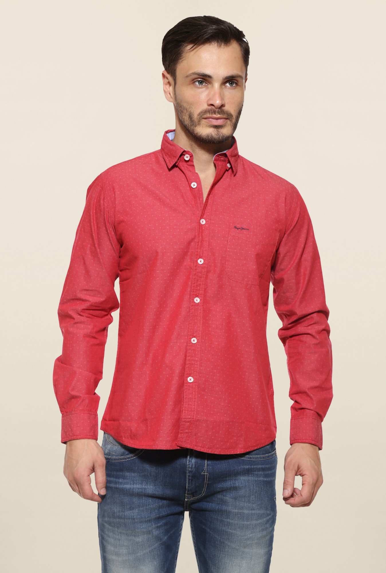 Pepe Jeans Red Cotton Casual Shirt