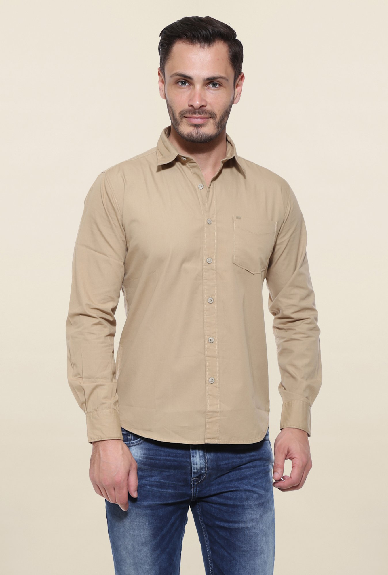 Pepe Jeans Beige Solid Casual Shirt