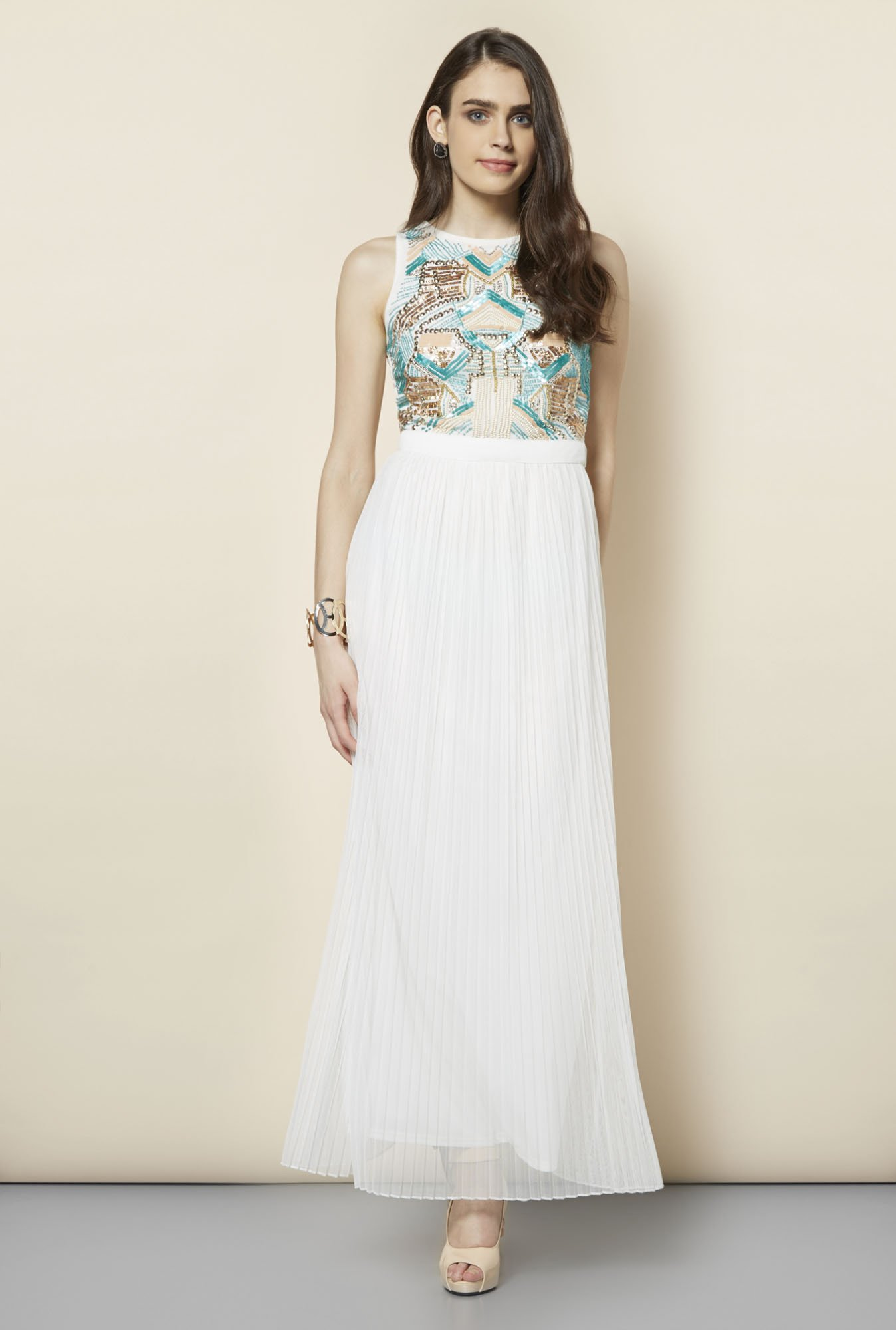 FG-4 Cream Embellished Maxi Dress