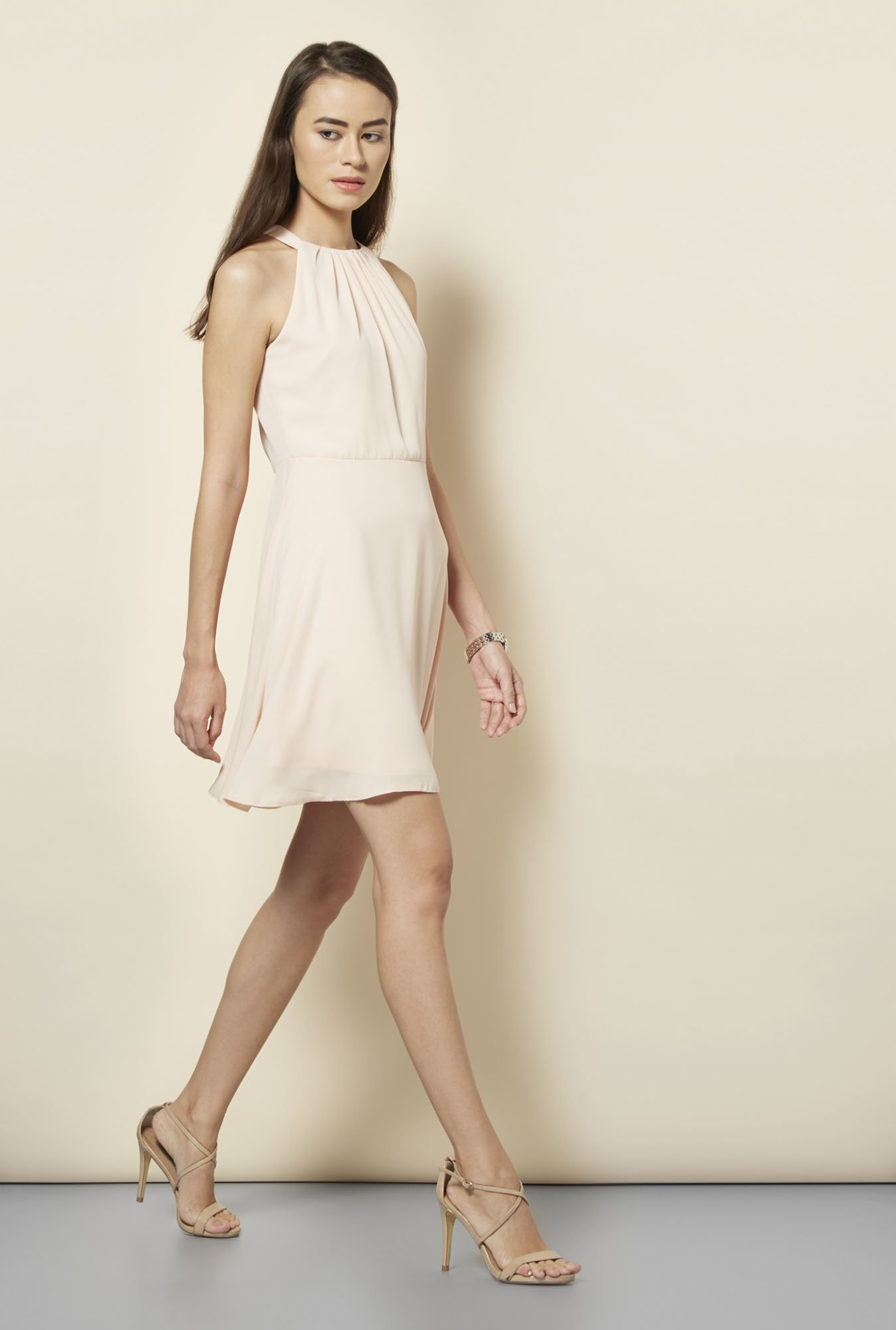 New Look Nude Solid Skater Dress