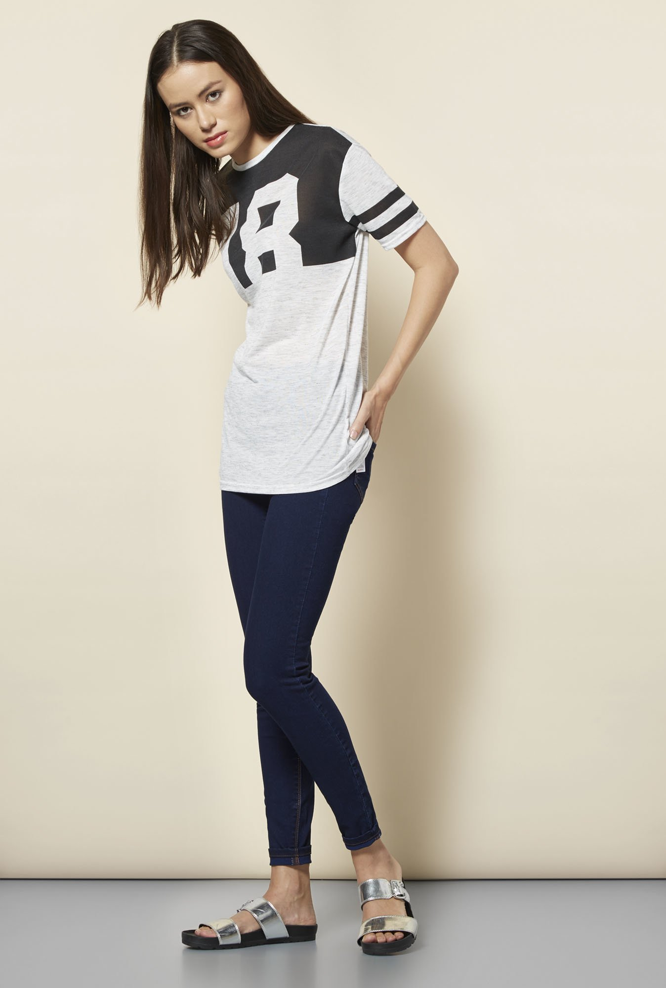 New Look Grey Printed Baseball T- Shirt