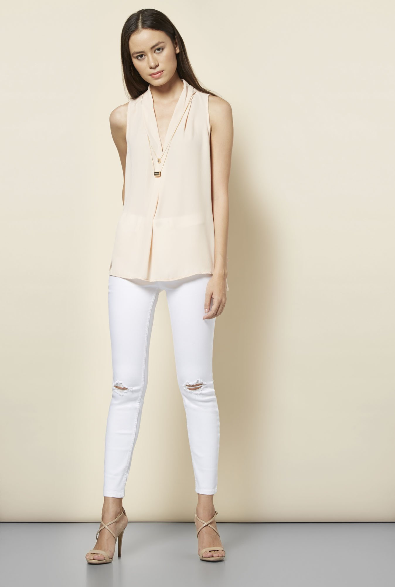 New Look Peach Solid Top