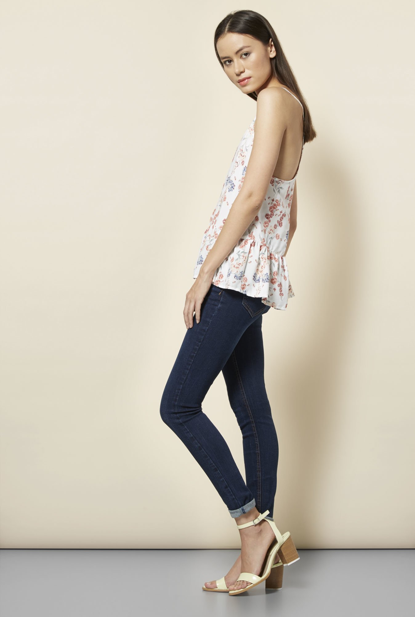 New Look White Floral Print Peplum Top