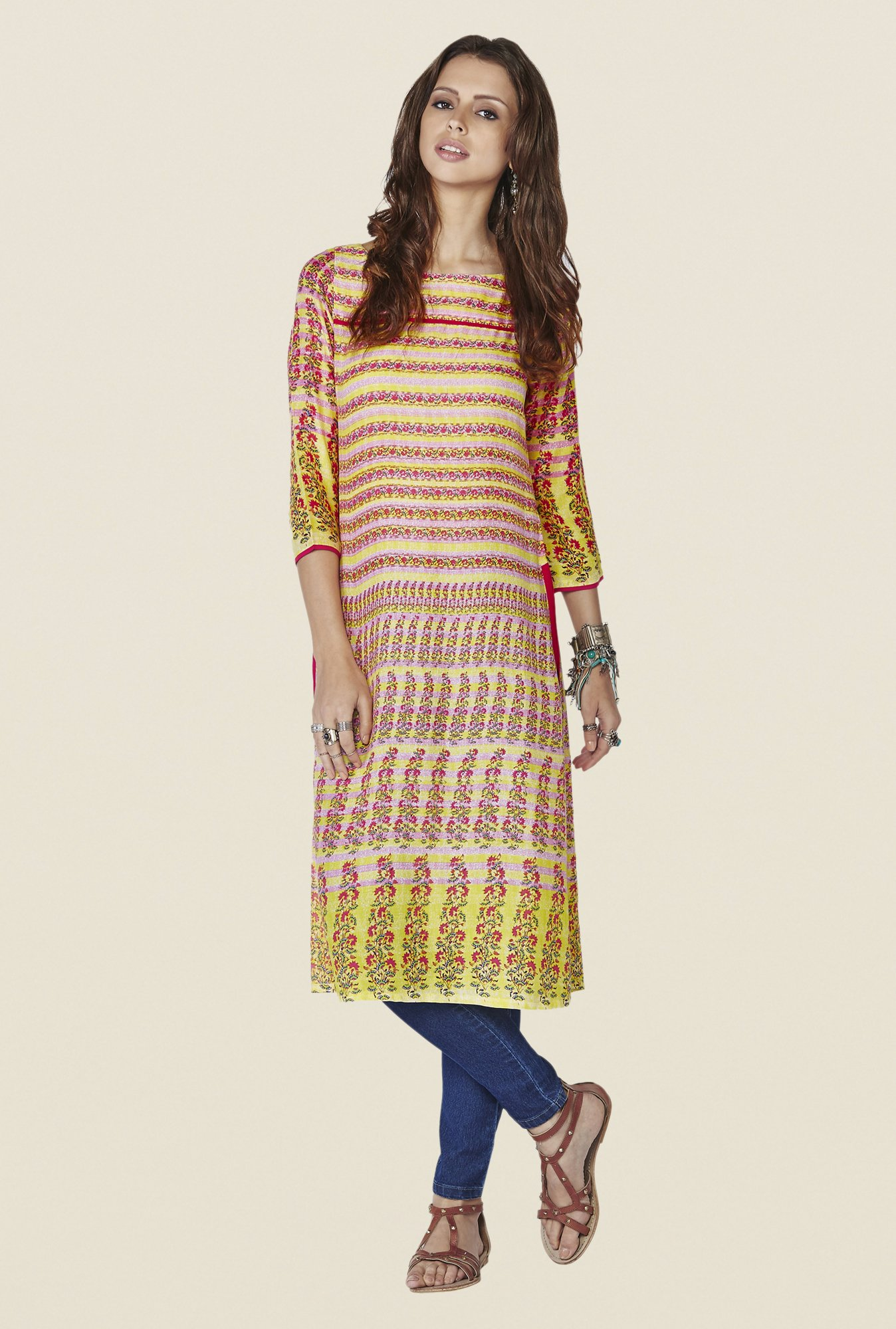 Global Desi Multicolor Printed Citrine Kurti