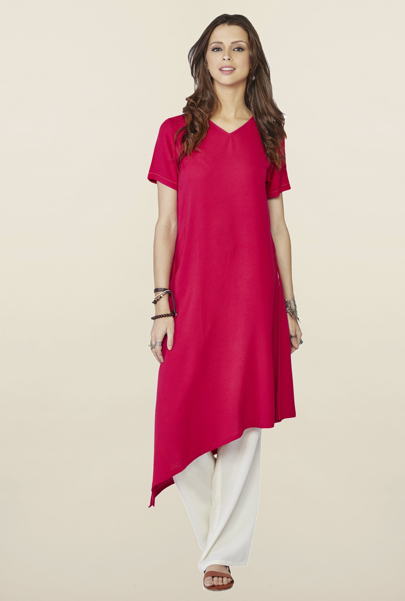 Global Desi Maroon Solid Cyan Kurti