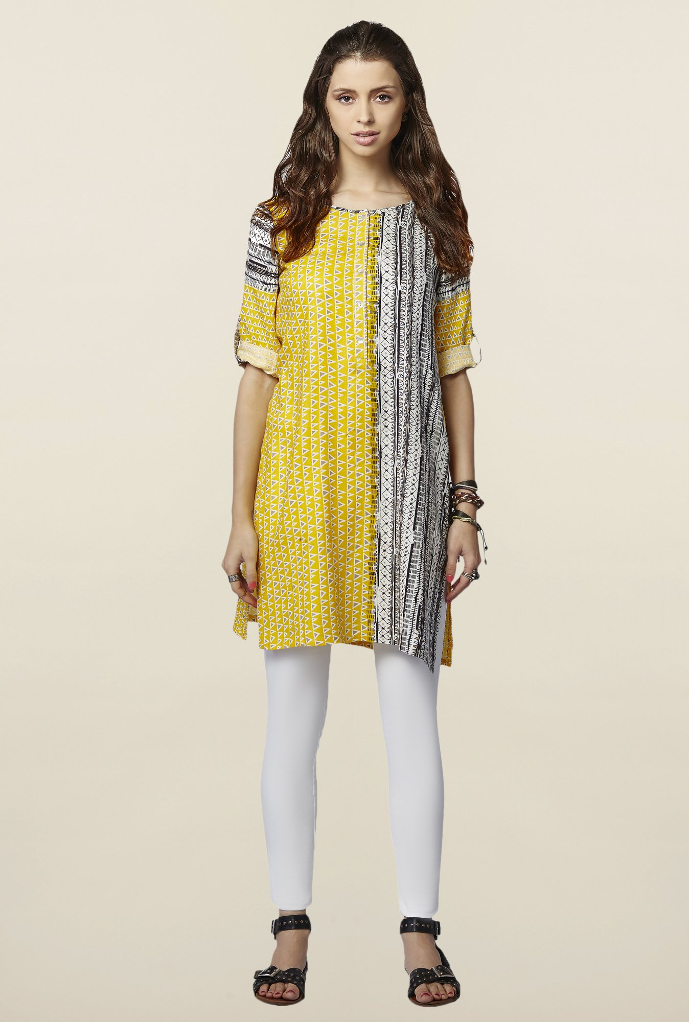 Global Desi Yellow Printed Talayeh Tunic