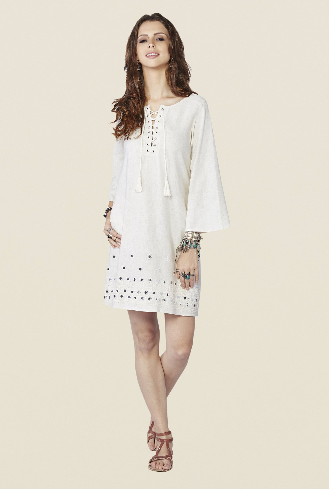 Global Desi Cream Solid Ara Tunic