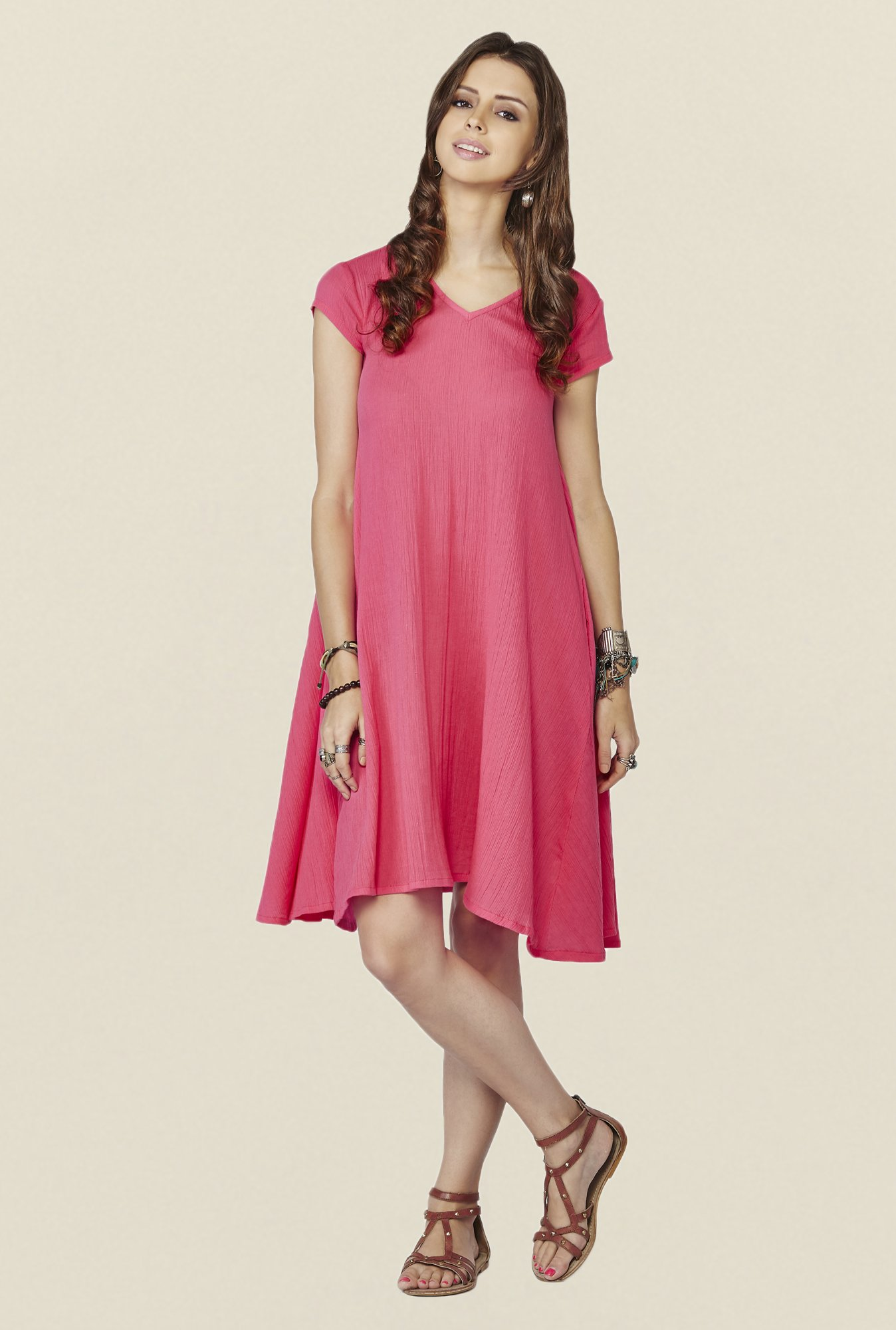 Global Desi Rose Pink Solid Mimosa Tunic