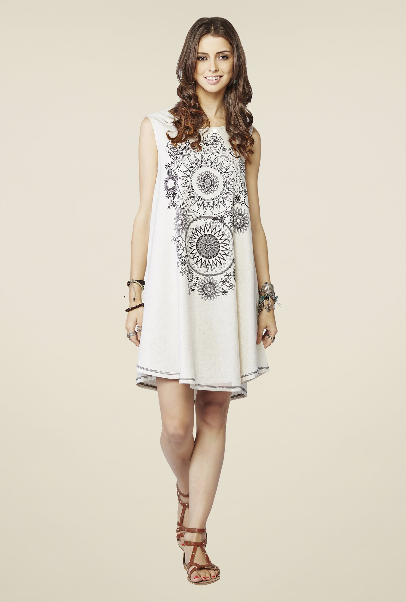 Global Desi Off White Printed Yara Tunic