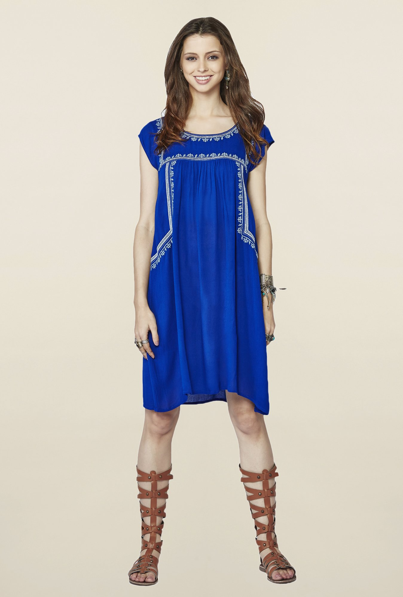 Global Desi Ink Blue Embroidered Kyla Tunic