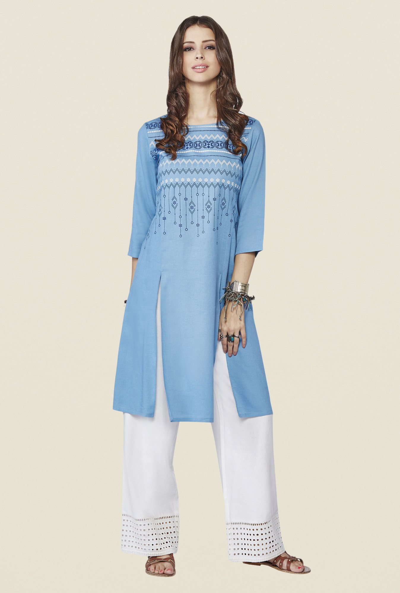 Global Desi Blue Printed Aspen Kurta