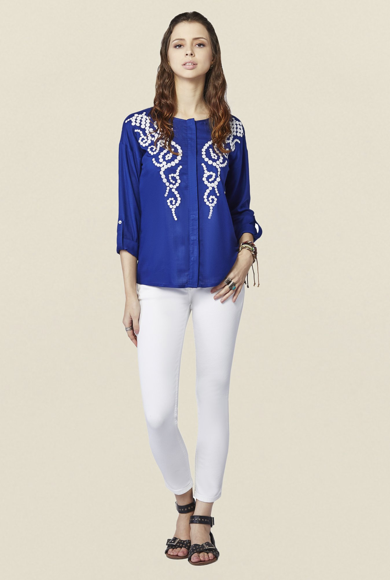 Global Desi Ink Blue Embroidered Yelena Top