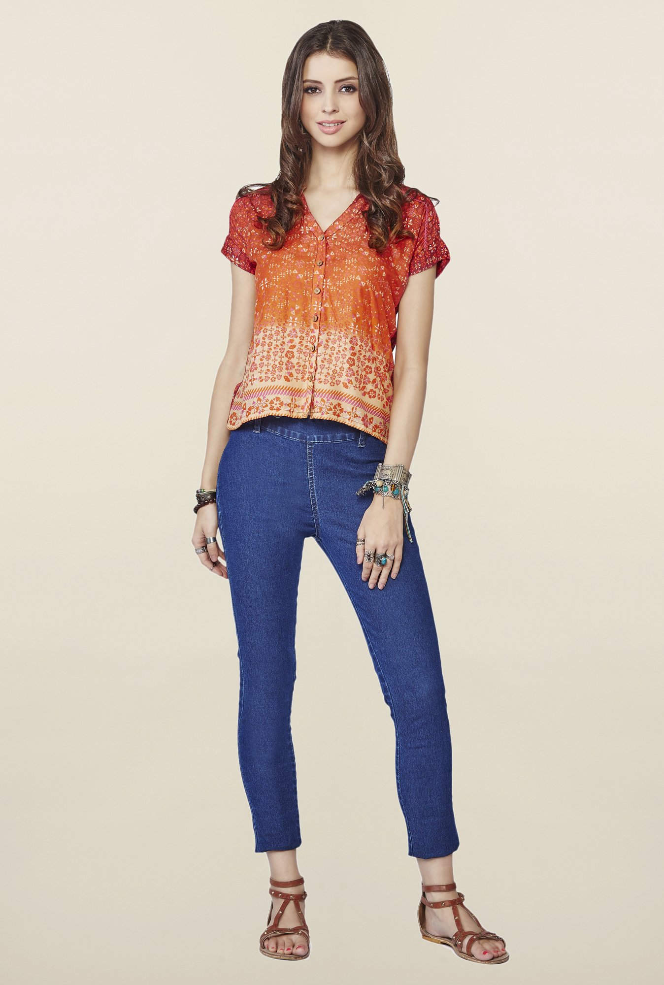 Global Desi Orange Printed Demelza Top
