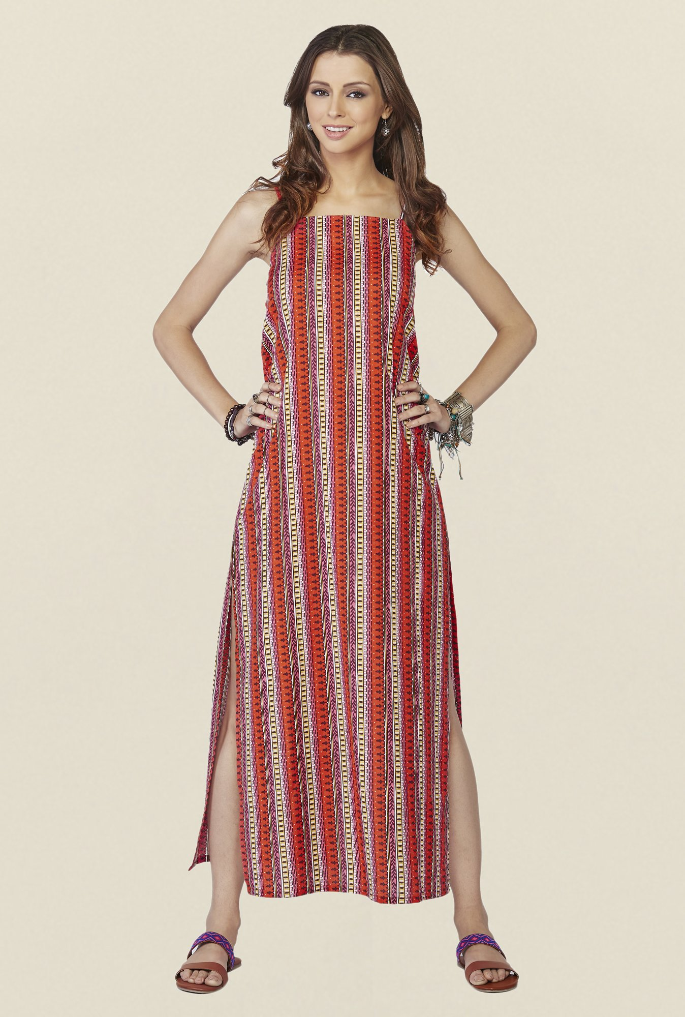 Global Desi Red Printed Fiona Maxi Dress