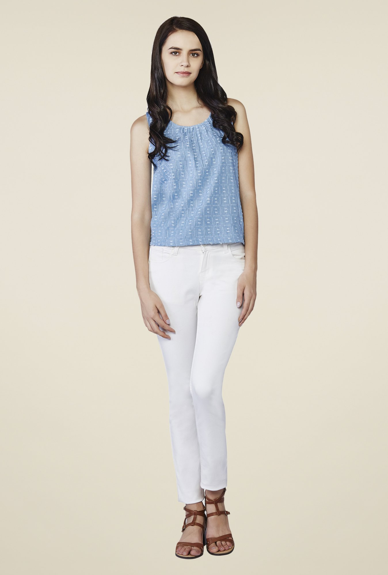 AND Blue Donna Printed Denim Top
