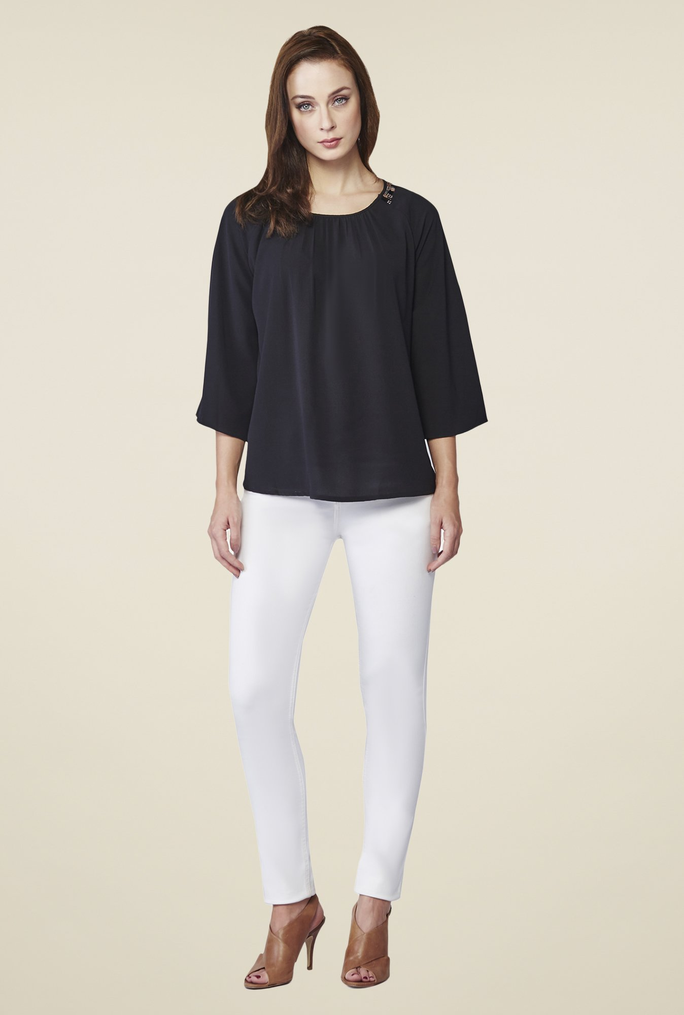 AND Black Reina Embellished Top