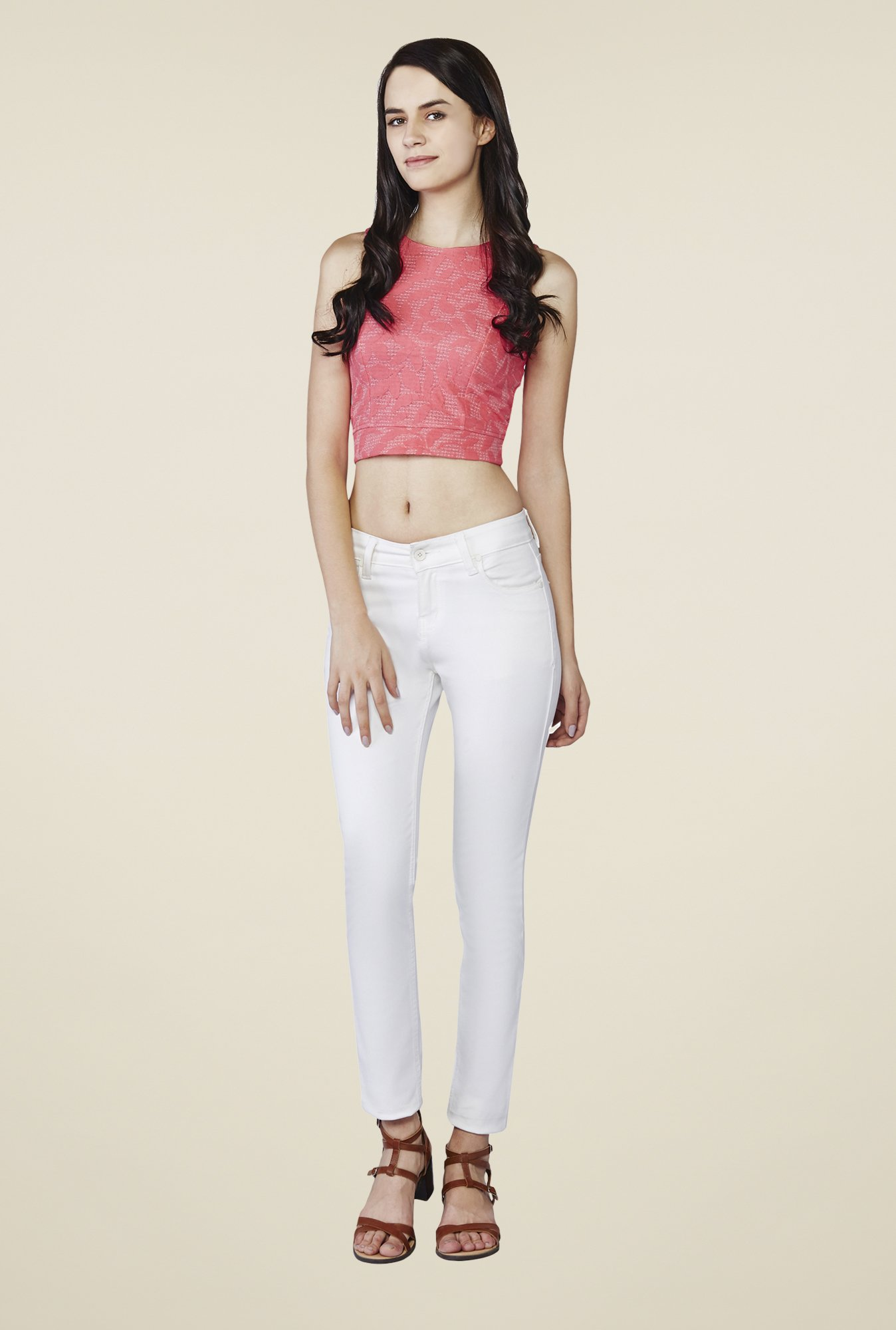 AND Pink Rouge Textured Crop Top