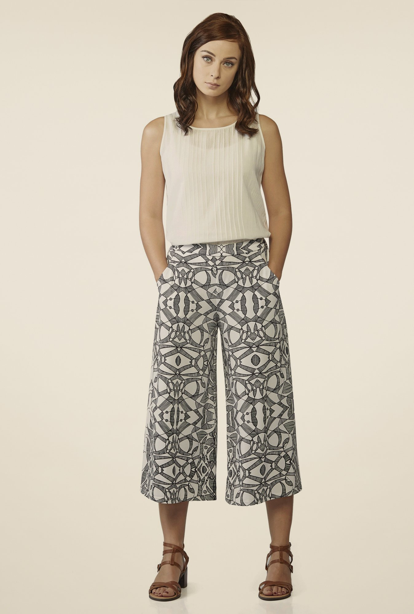 AND Black & White Printed Culottes