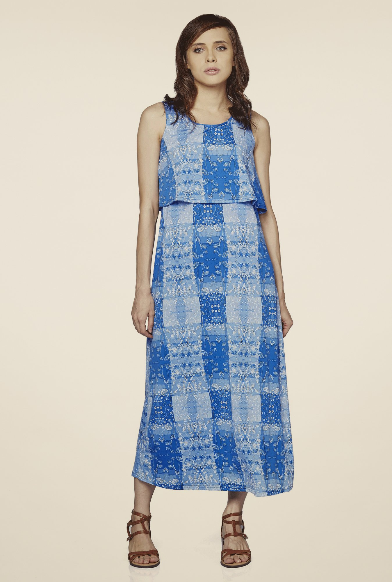 AND Blue Printed Dress