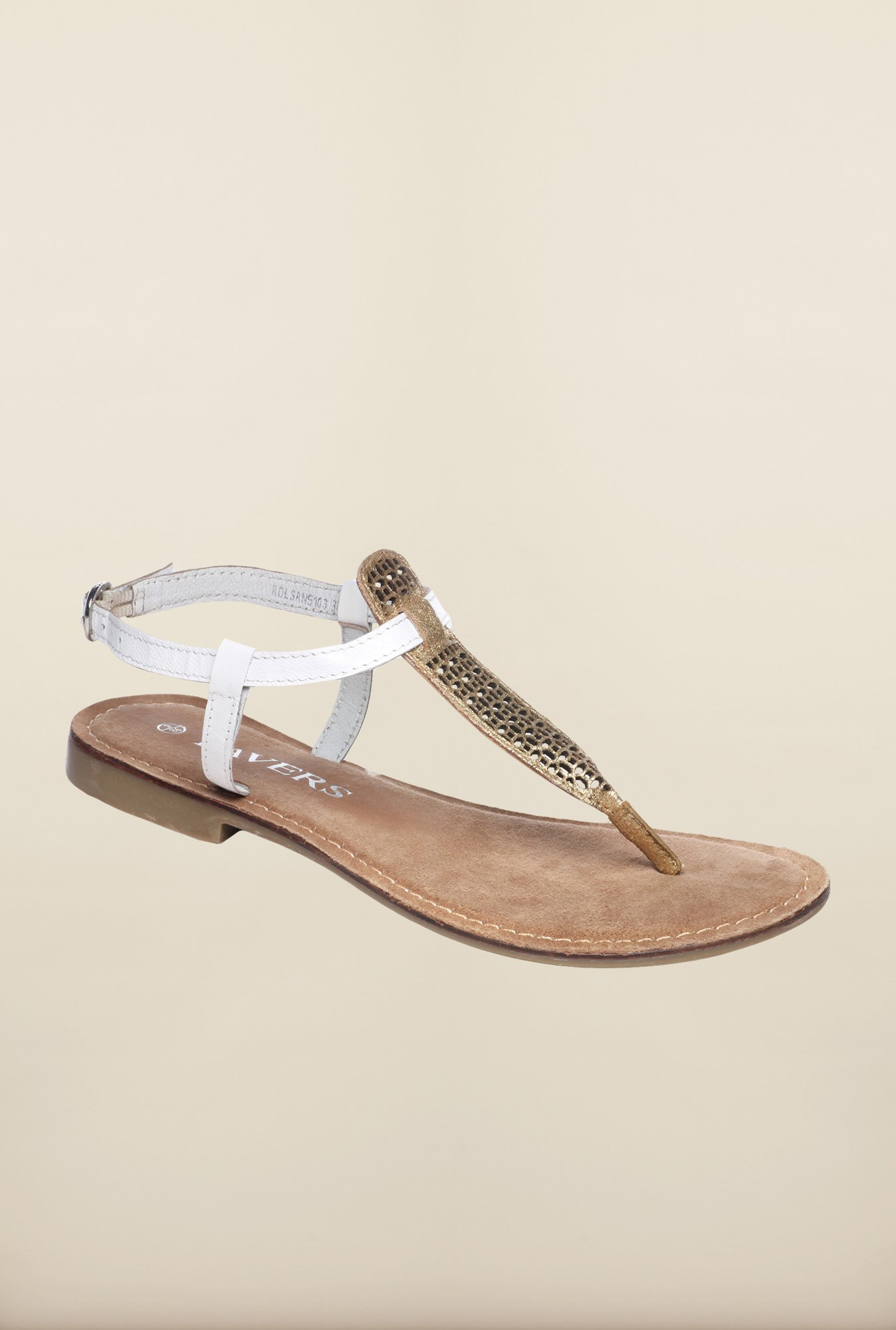 Pavers England White & Gold Back Strap Sandals