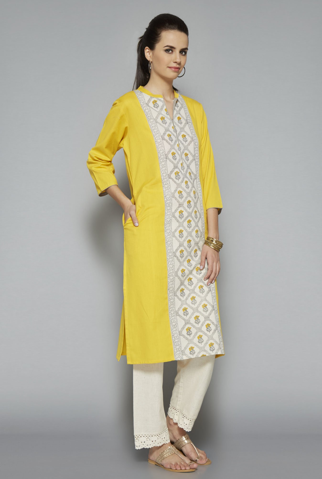Utsa Yellow Printed Cotton Kurta