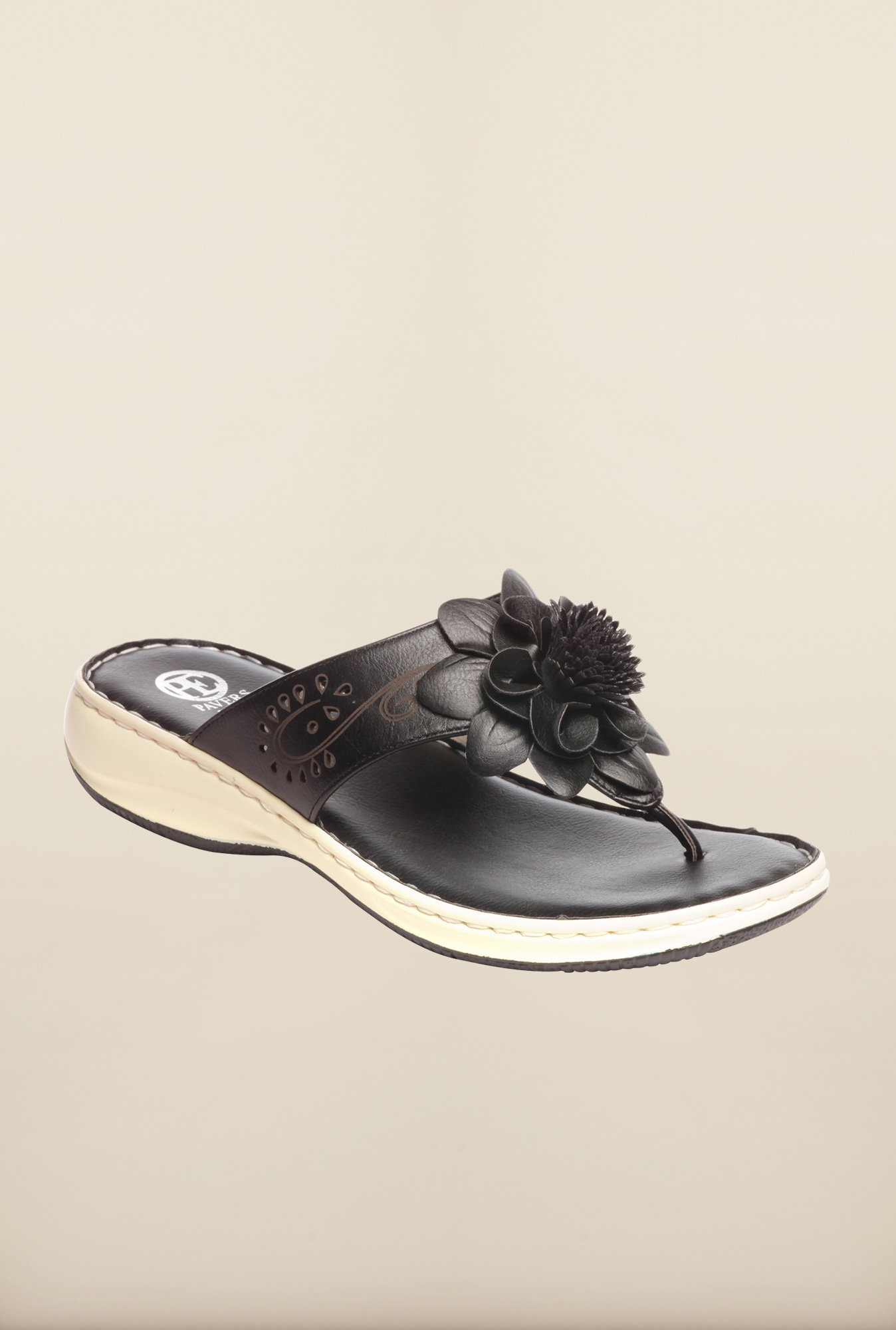 Pavers England Black Thong Sandals