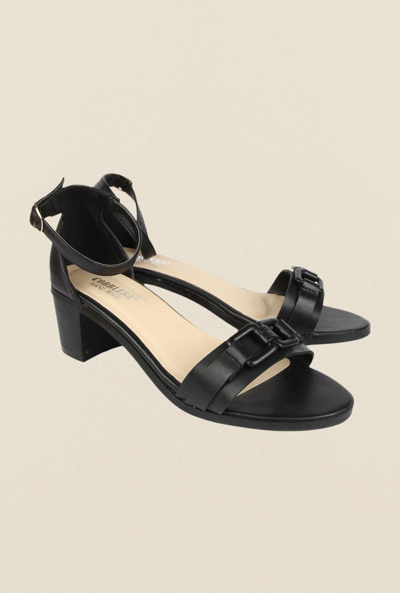 Cobblerz Black Block Sandals
