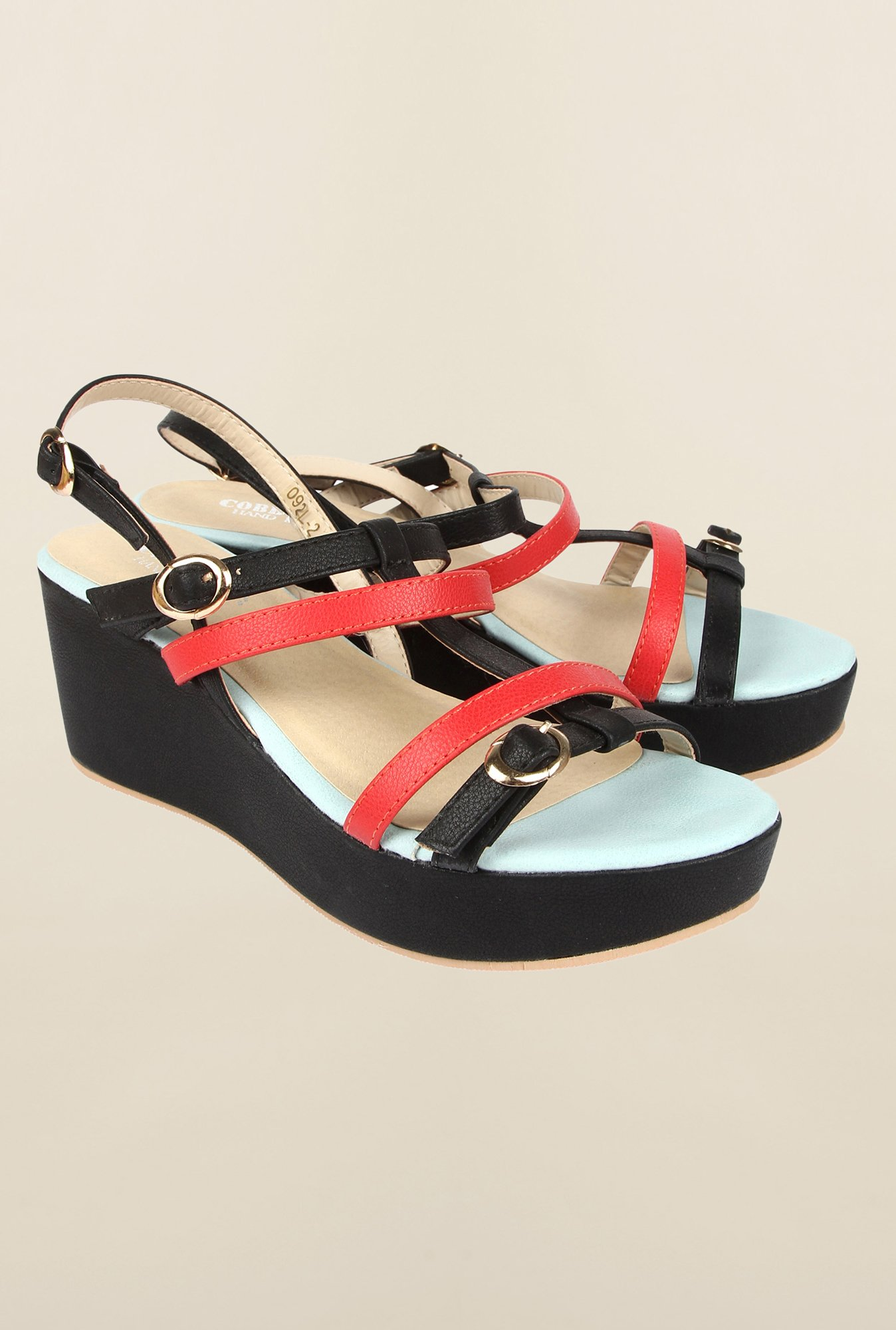 Cobblerz Black & Red Wedge Sandals