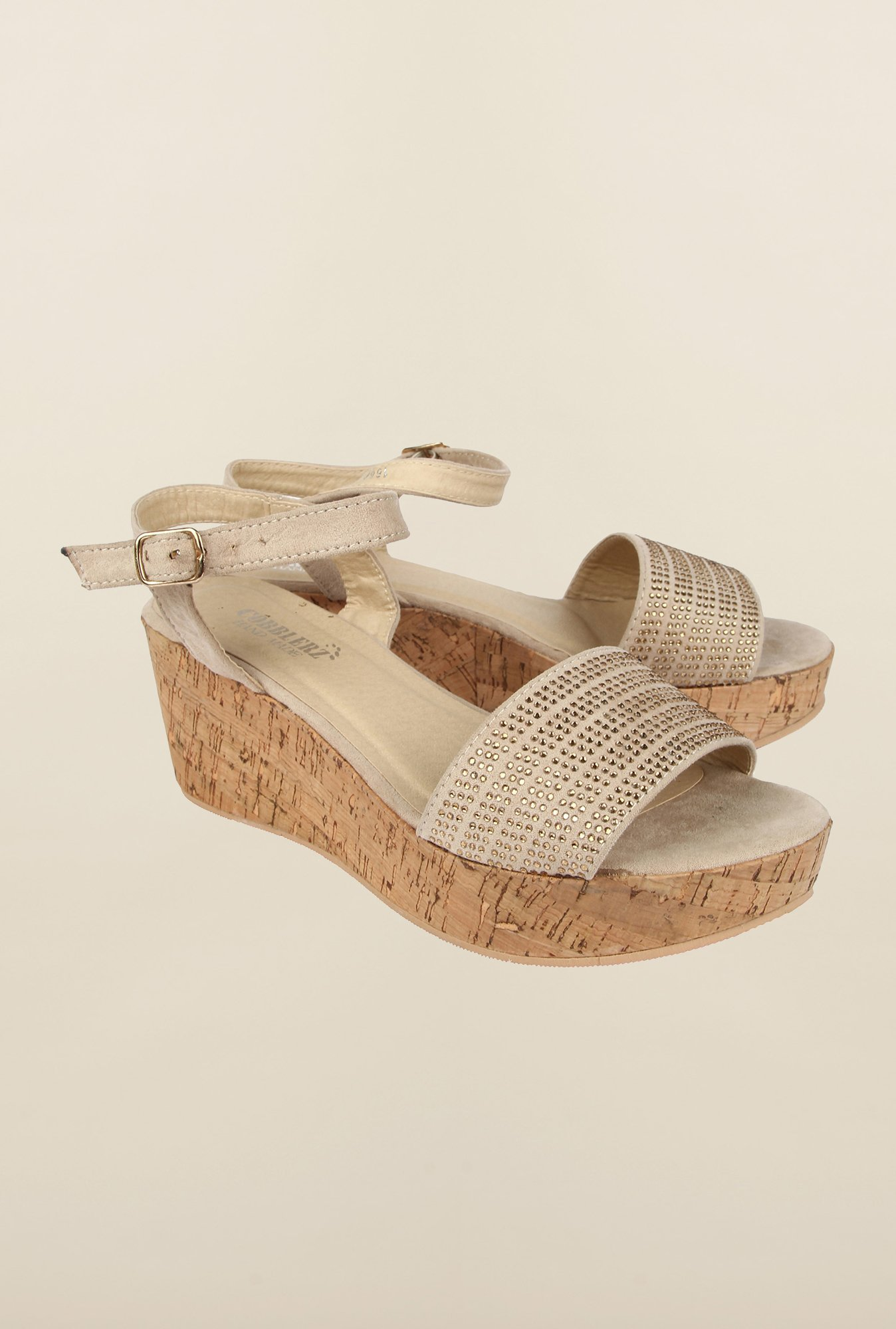 Cobblerz Beige Wedge Sandals