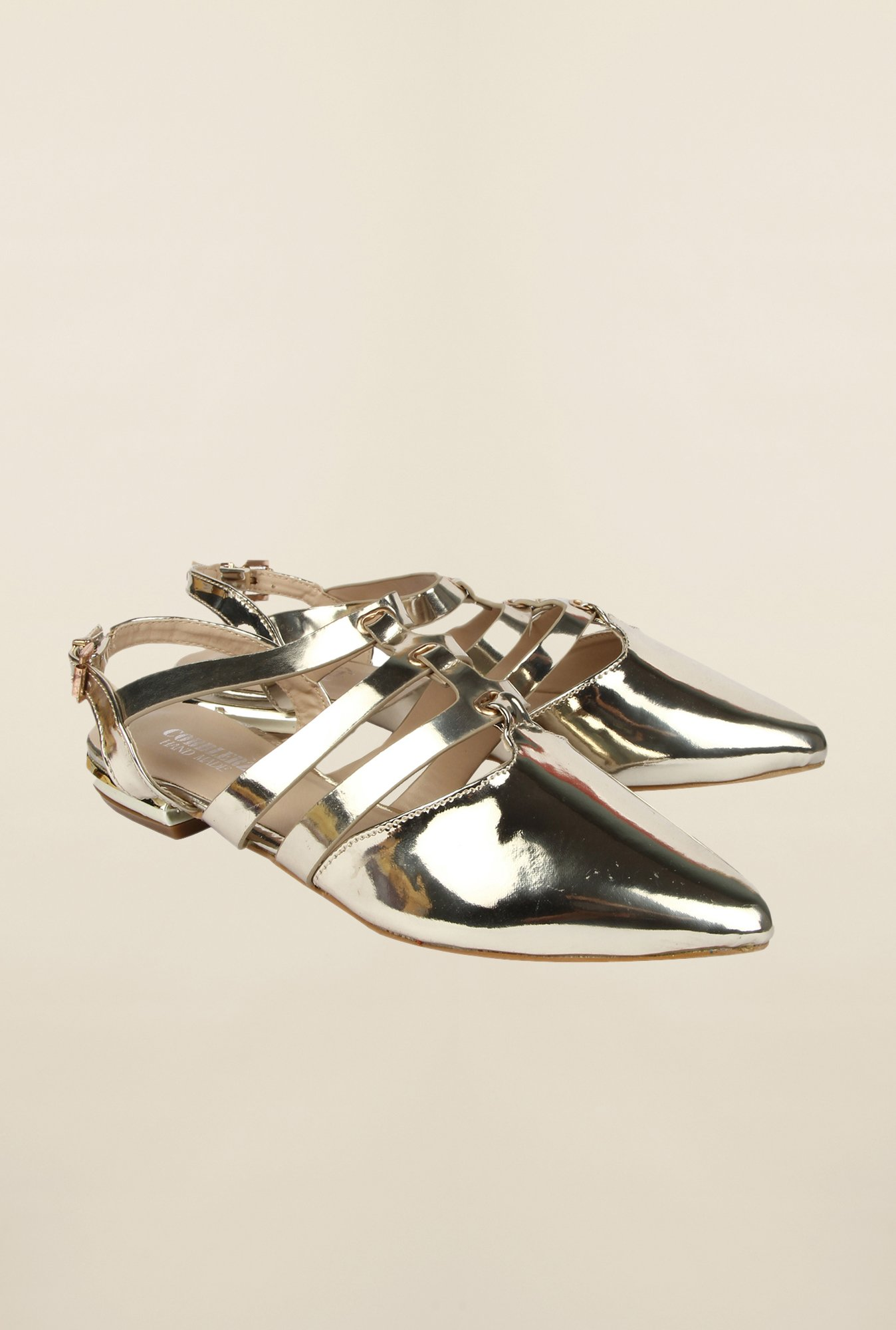 Cobblerz Gold Flat Sandals