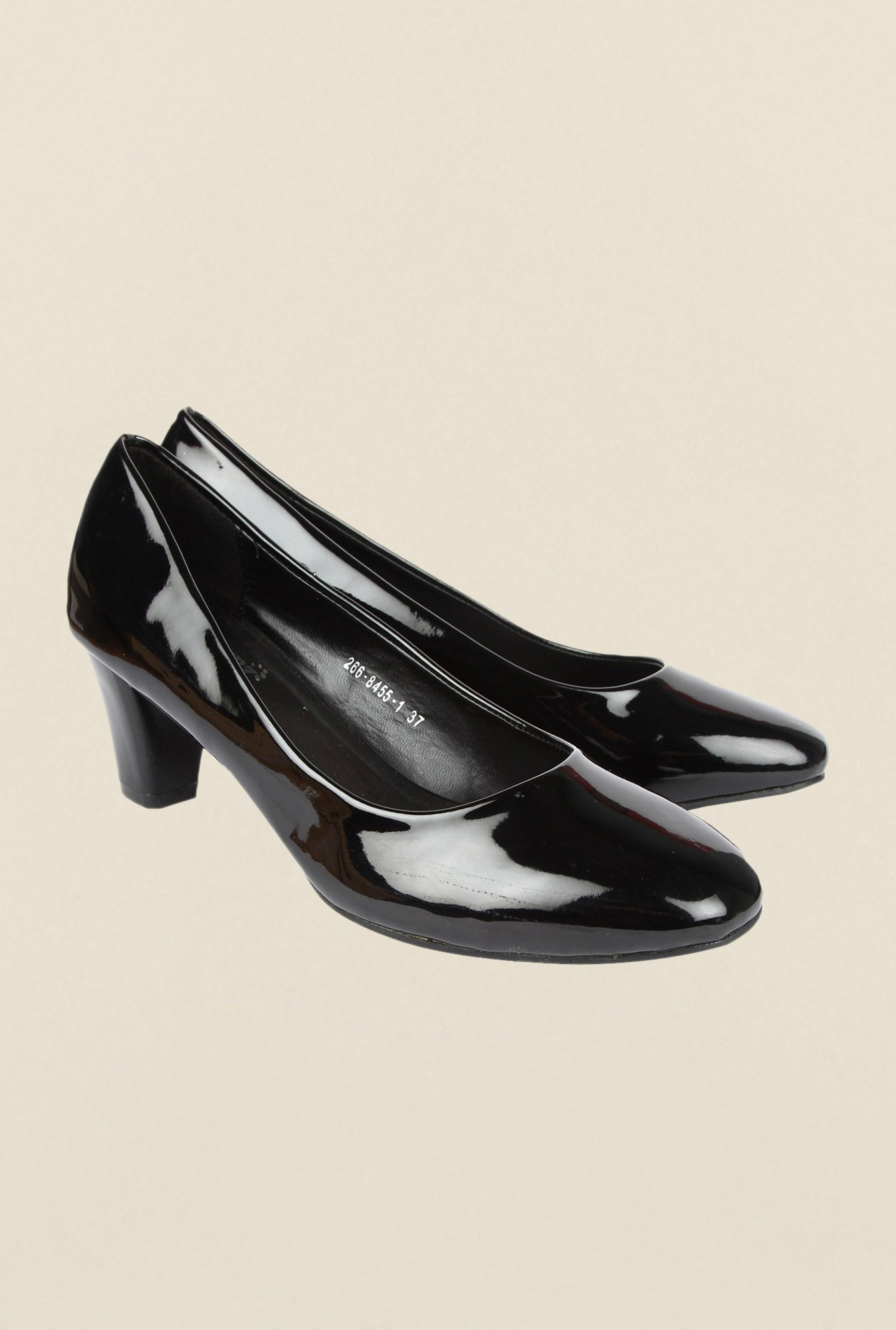 Cobblerz Black Block Heel Shoes